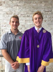 Jack Hansen (right) is shown with his brother, Evan, at his high school graduation earlier this year.