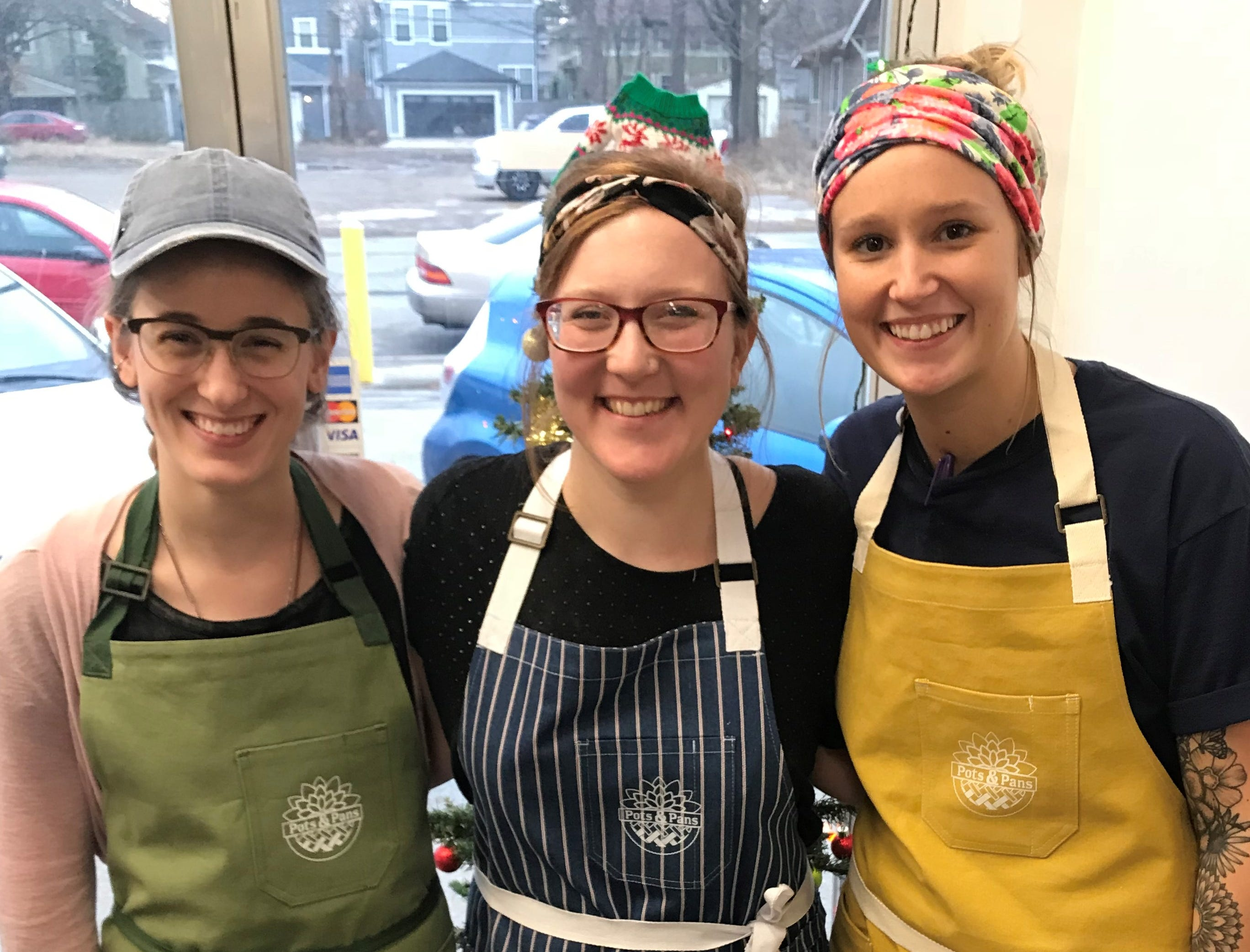 Pots & Pans Pie Co. owner Clarissa Morley (center) with bakers Sydney Moore and Chelsea Wall. After two years of selling pies at Indianapolis-area farmers markets, Morley opened a cafe and retail shop Dec. 1, 2018. The store, south of Broad Ripple, is at 915 N. College  Ave., at 49th Street.