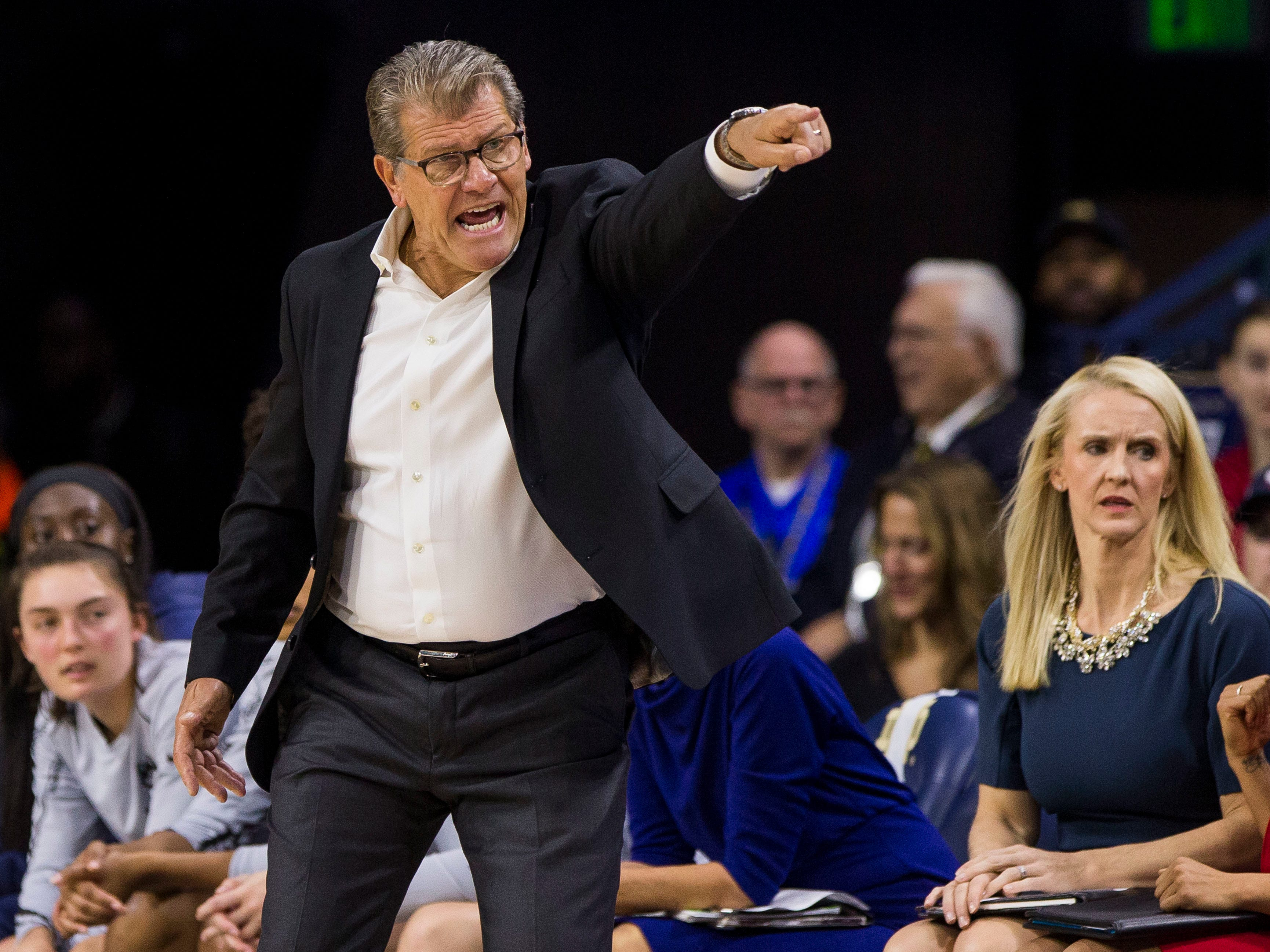 Connecticut head coach Geno Auriemma directs players during the first half of an NCAA college basketball game Sunday, Dec. 2, 2018, in South Bend, Ind.