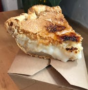 Indiana's favorite sugar cream pie gets creme brulee-style crispy, torched sugar topping at Pots & Pans Pie Co. The Indianapolis bakery's first cafe and retail shop opened Dec. 1, 2018, south of Broad Ripple, is at 915 N. College  Ave., at 49th Street.