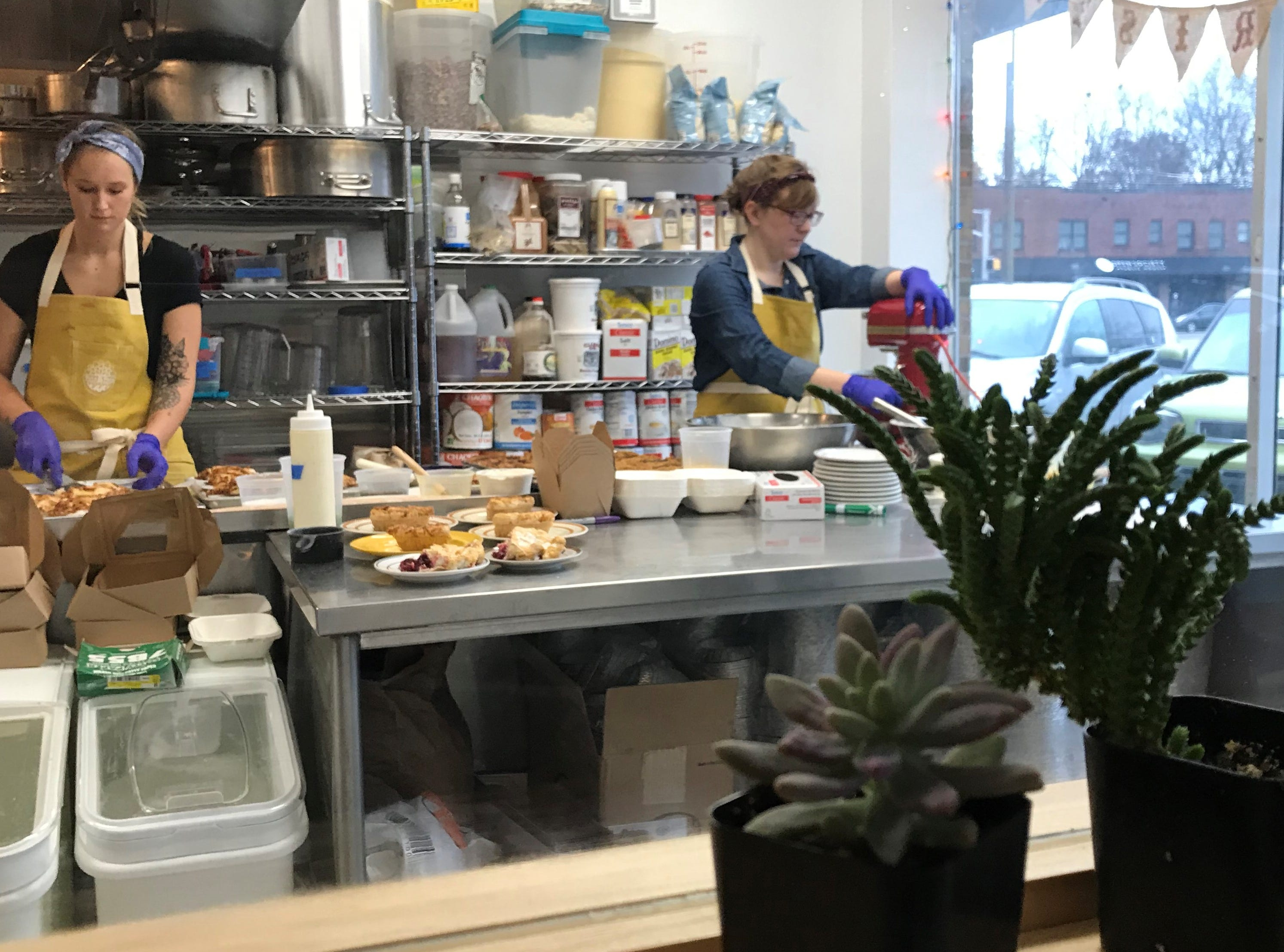 A window in the Pots & Pans Pie Co. cafe  affords a full view of the kitchen. The Indianapolis company's cafe and retail shop opened Dec. 1, 2018. The store, south of Broad Ripple, is at 915 N. College  Ave., at 49th Street.