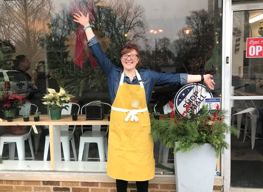 Pots & Pan Pie Co.  owner Clarissa Morley beams at her new pie shop and cafe. After selling pies for two years at area farmers markets, Morley opened the shop Dec. 1, 2018, south of Broad Ripple, at 915 N. College  Ave., at 49th Street, Indianapolis.