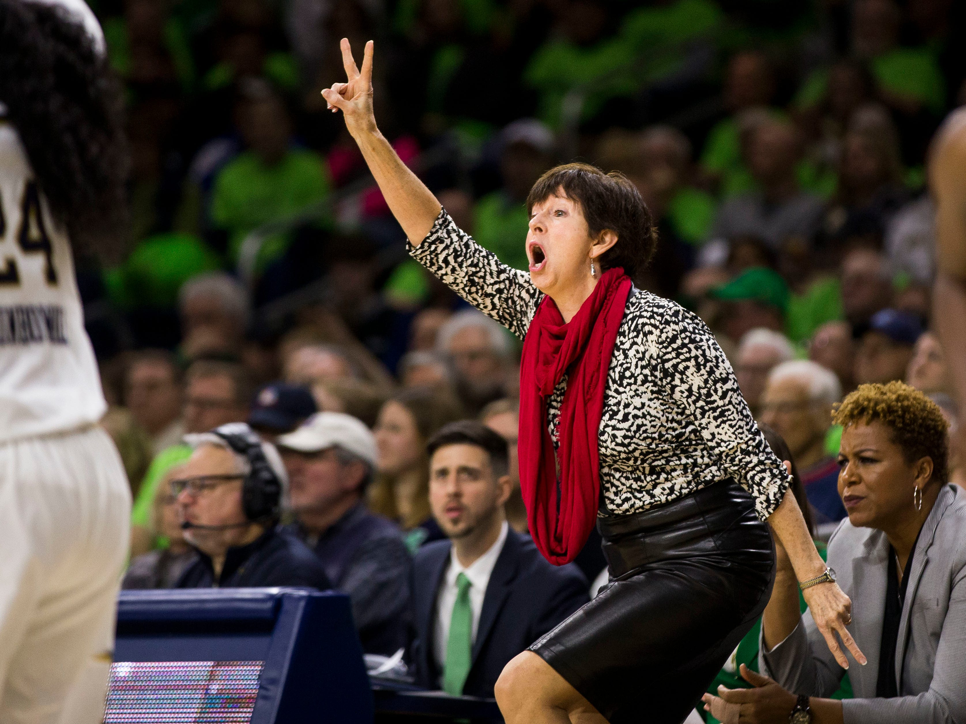 Notre Dame head coach Muffet McGraw yells a play to players during the first half of an NCAA college basketball game against Connecticut Sunday, Dec. 2, 2018, in South Bend, Ind.
