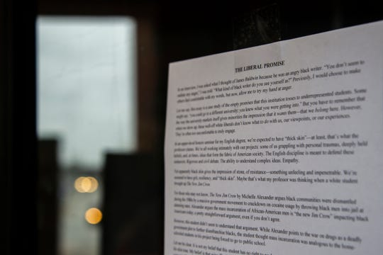 """A letter written by University of Iowa senior Austin Hughes, of Arlington, Texas, titled, """"The Liberal Promise"""" is taped to a door on Monday, Dec. 3, 2018, at the English Philosophy Building in Iowa City. Hughes is the 21st Rhodes scholar to attend the university."""