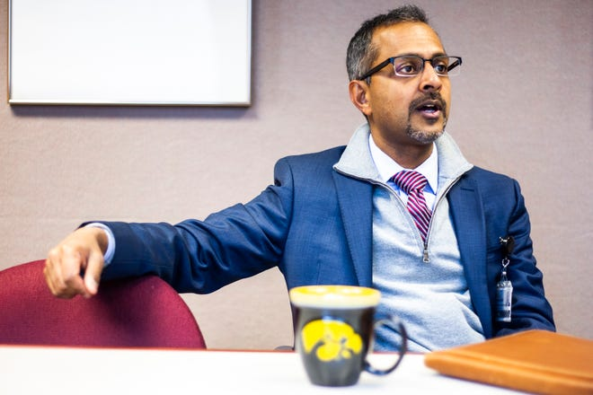 University of Iowa Health Care Associate Vice President and UI Hospitals and Clinics CEO Suresh Gunasekaran speaks during an interview on Monday, Dec. 3, 2018, at the University of Iowa Hospital in Iowa City.