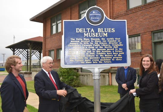 The unveiling of the Delta Blues Museum Mississippi Blues Trail Marker in Clarksdale.