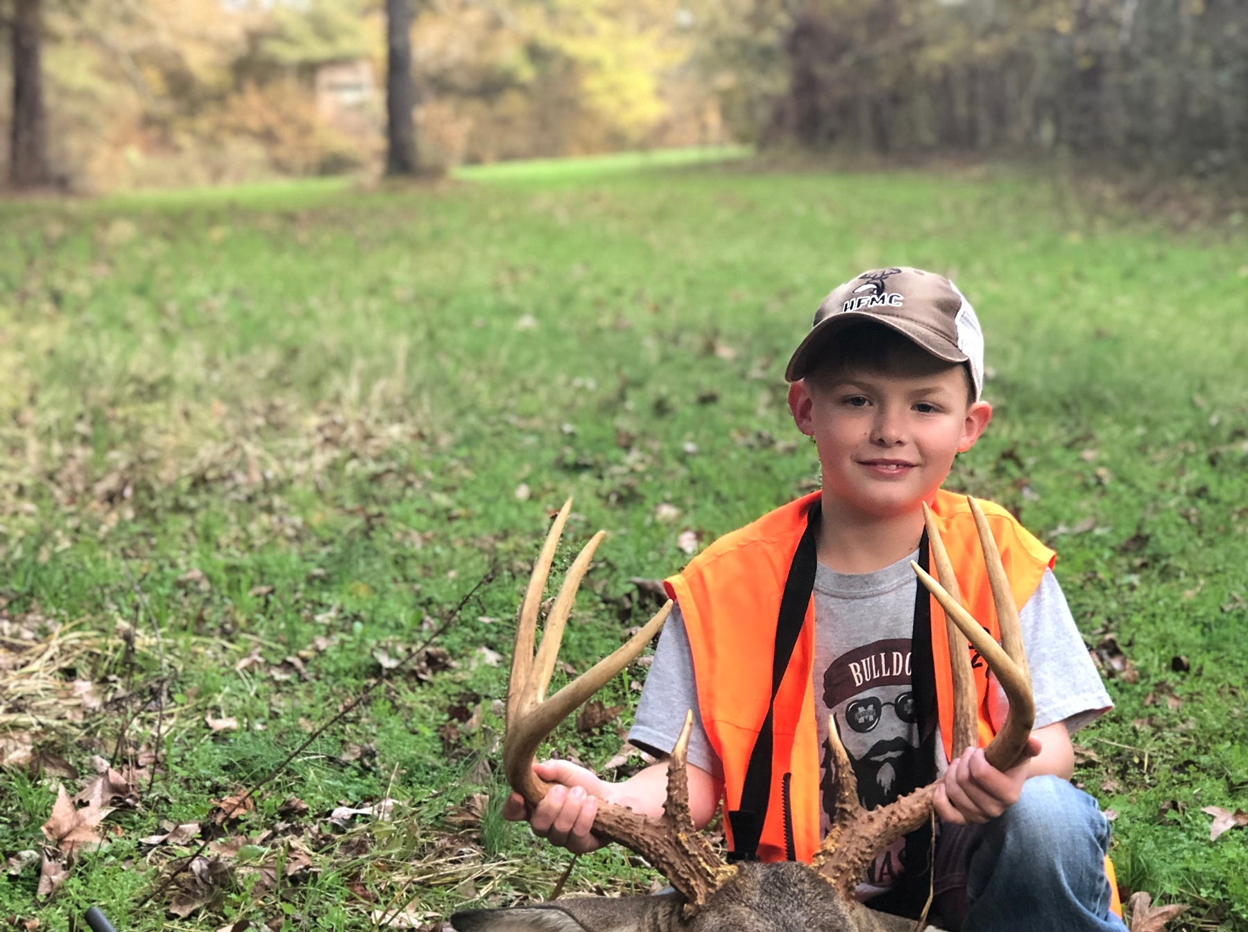 Keifer Young, 9, of Madison, harvested his first deer in Lexington. Young missed the buck with his first shot, but quickly chambered another cartridge and dropped the 8-point.