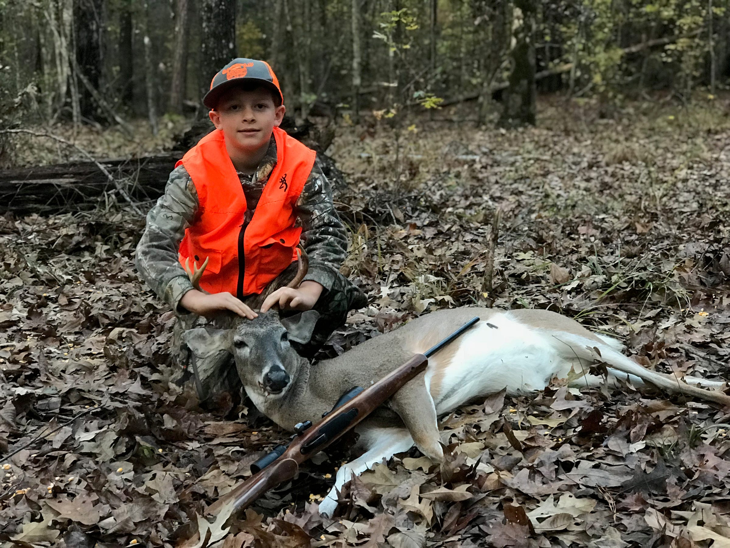 Gunnar Bunger, 8, of Madison, made a 75-yard shot and harvested his first deer.