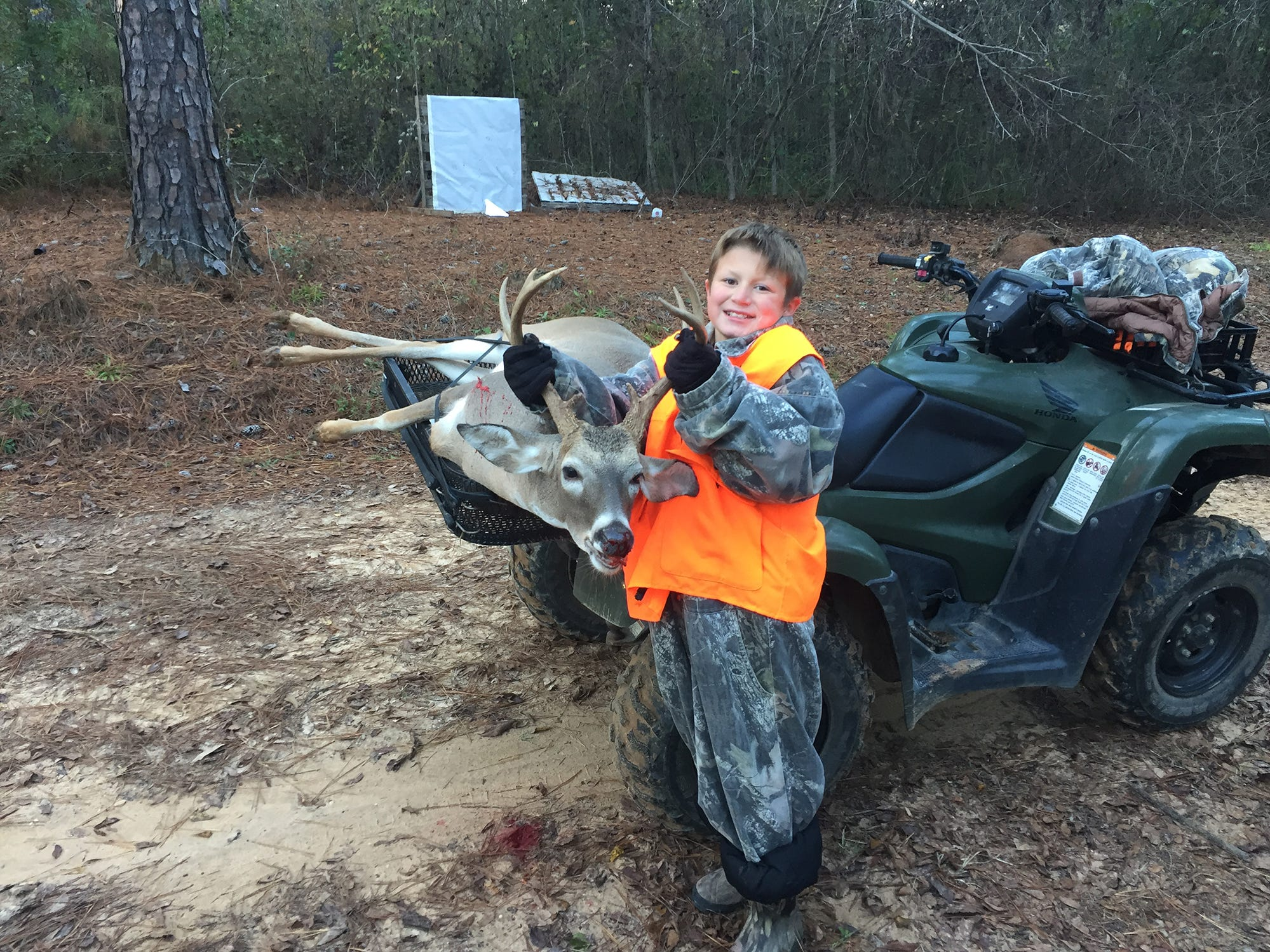 Conner Brady, 10, of Ellisville, harvested a 9-point while hunting with his grandfather. It was his first buck.