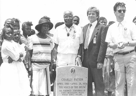 "Charley Patton's Mississippi Blues Trail Marker at his gravesite in Holly Springs. Roebuck ""Pop"" Staples of The Staples Singers and John Fogerty attended the event."