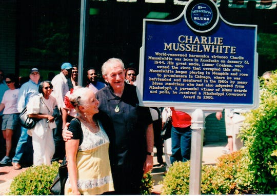 Charlie Musselwhite and his wife, Henrietta at his Blues Trail Mark unveiling in Kosciusko.