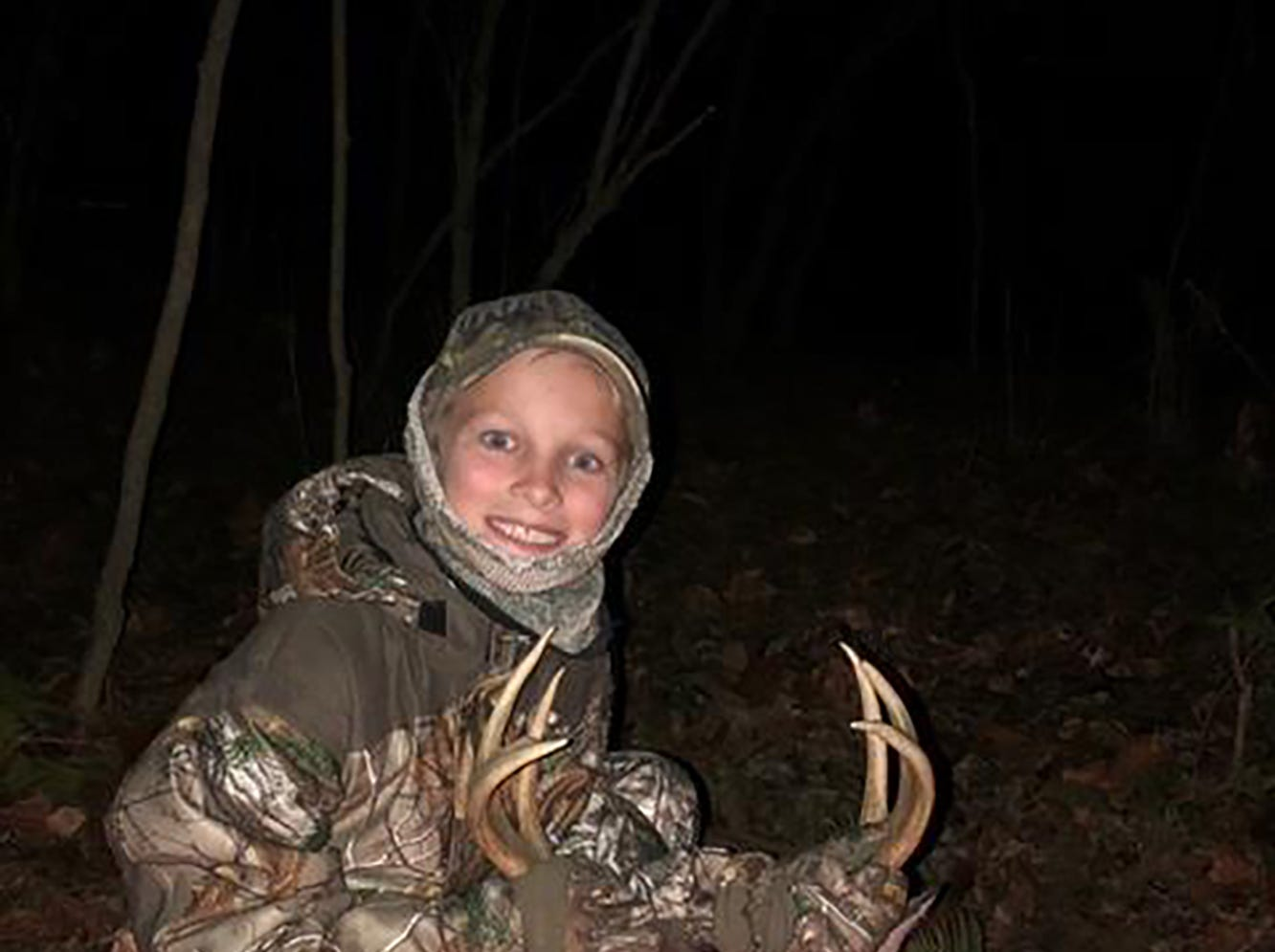 Nick Lee, 9, of Vicksburg, harvested his first buck while hunting with his grandfather in Bovina.