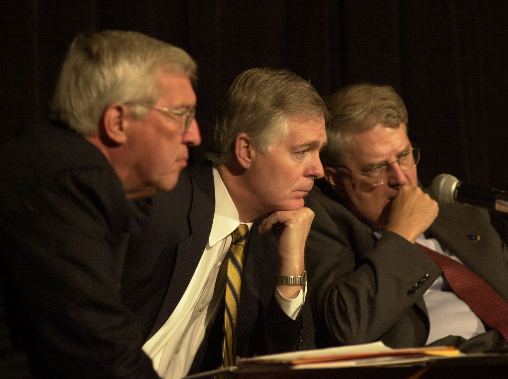Tennessee Governor Don Sundquist, North Carolina Governor Michael Easley, and Georgia Governor Roy Barnes watch a monitor as one of the panelist at the Third Annual Governor' Summit on Mountaqin Air Quality talks about states records on emissions. The event was held at the Park Vista Hotel Thursday and Friday in Gatlinburg.