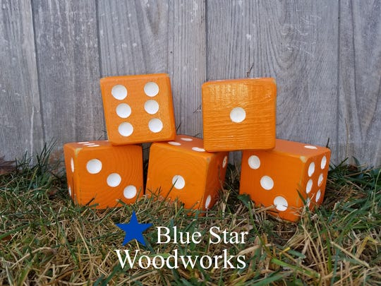 Big wooden lawn dice could be a gift for the Vol fan who has it all.