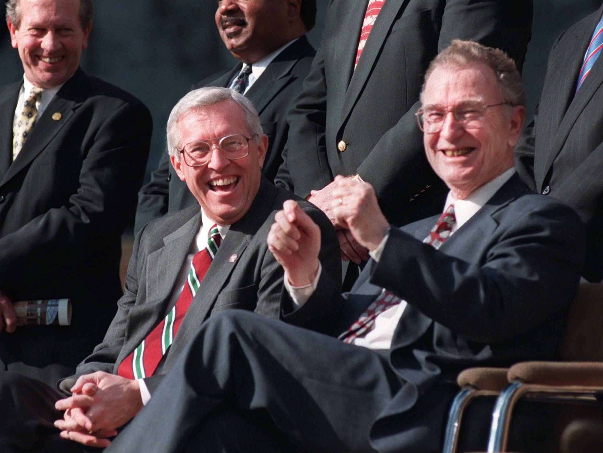 Gov. Don Sundquist, left, shares a laugh with Lt. Gov. John Wilder during a press conference announcing the construction of the Federal Express Business Information Sciences Center on Jan. 30, 1998 at the University of Memphis.