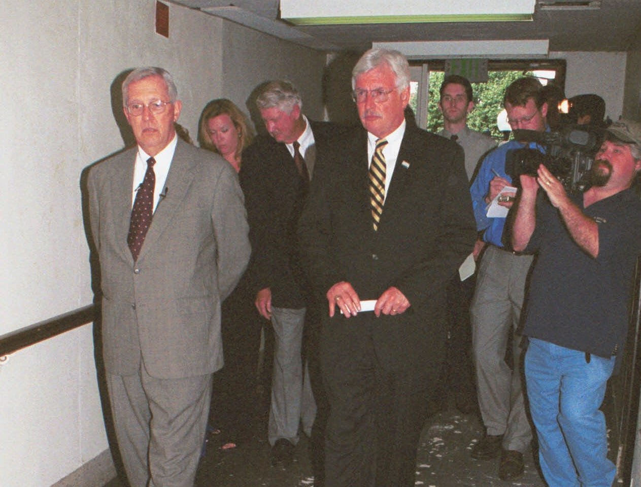 Tennessee Gov. Don Sundquist, left, tours the old Sherrod Library building with East Tennessee State University President Dr. Paul Stanton Tuesday, July 24, 2001 in Johnson City, Tenn.  The building was built in 1966 and has not been able to be utilized due to fund shortage since new library was built.  (AP Photo/Earl Neikirk)