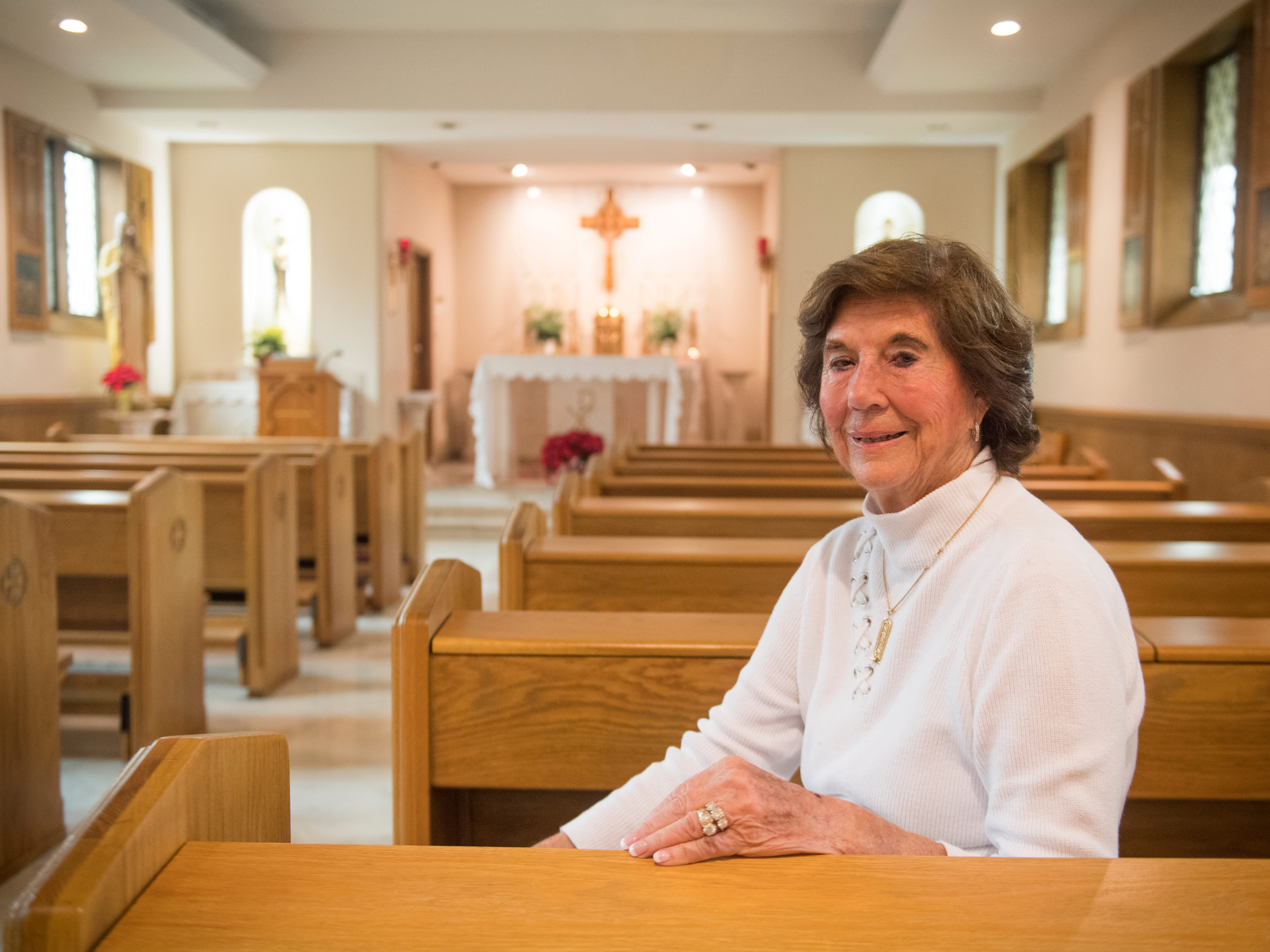 Former St. Mary's School of Nursing director Margaret Heins inside the chapel on Friday, November 30, 2018.