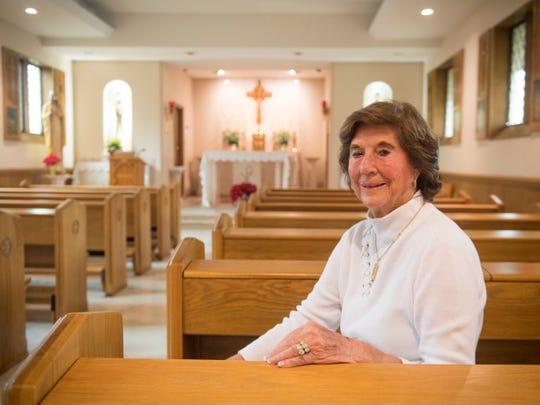 Former St. Mary's School of Nursing director Margaret Heins inside the chapel on Nov. 30.