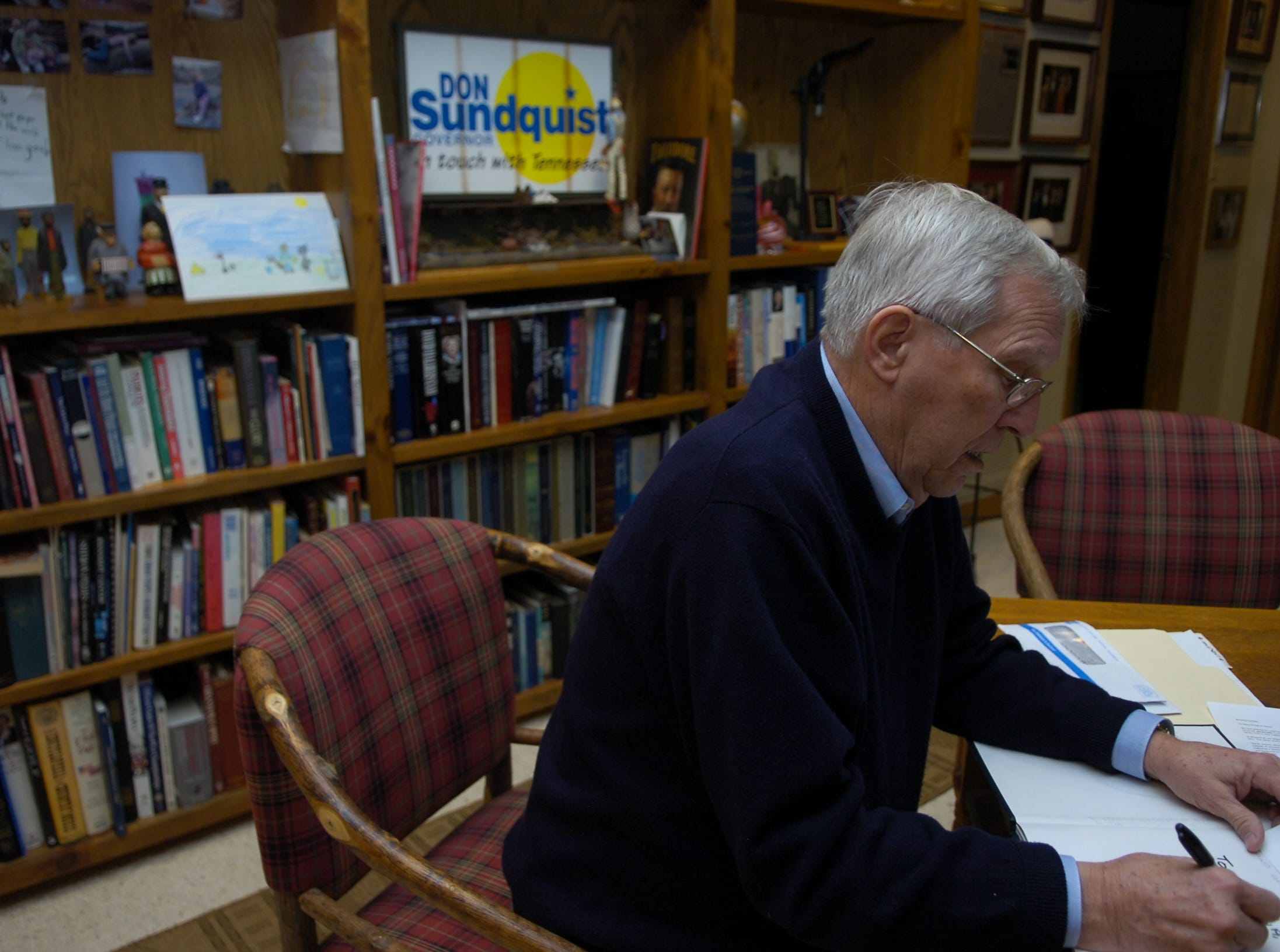 Former Tennessee Governor Don Sundquist in his office area at his home in Laurel Valley, located in Townsend, TN. Sundquist served as governor from 1995 to 2002.