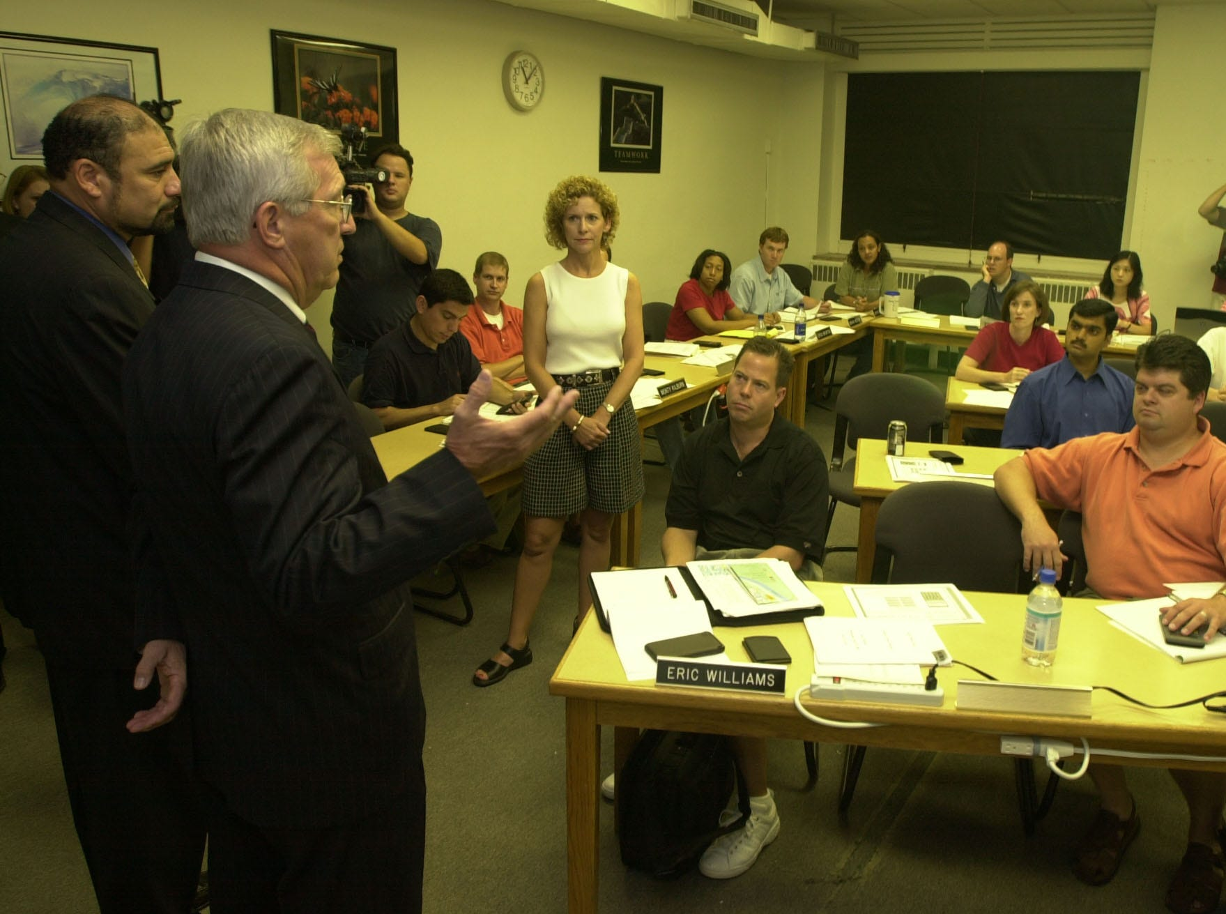Tennessee Governor Don Sundquist stopped in Suzan Murphy's finance class during his tour of the Glocker Business Administration Building Wednesday. Sundquist and state representative Joe Armstrong took questions from students in Professor Murphy's class who happened to be talking about state bonds on Wednesday.