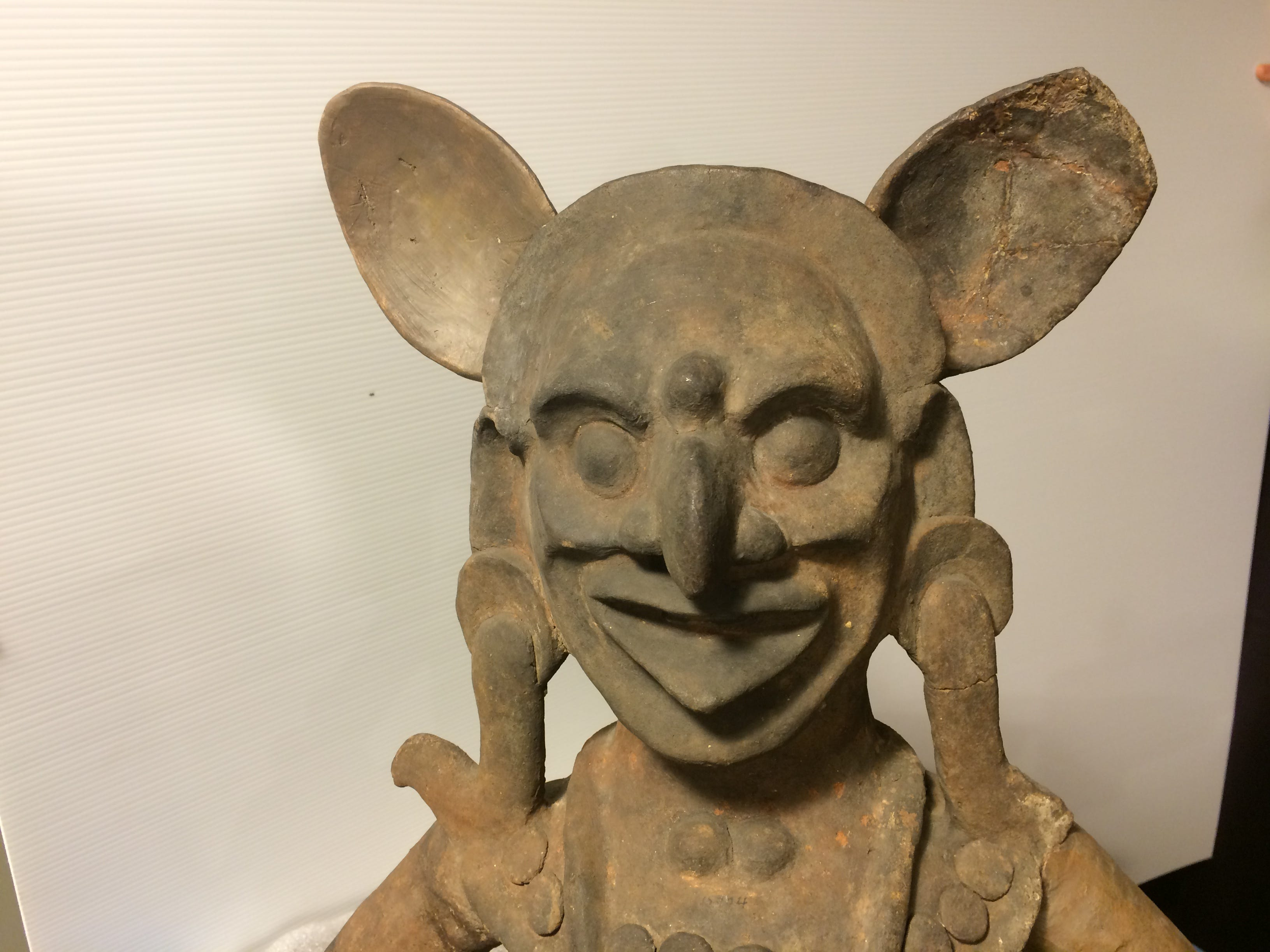 "This big-eared, hooked-nose creature is part of a ceramic censer bowl found in modern day Gutemala. It's part of the exhibit ""Maya"" Lords of Time"" at the McClung Museum of Natural History and Culture."