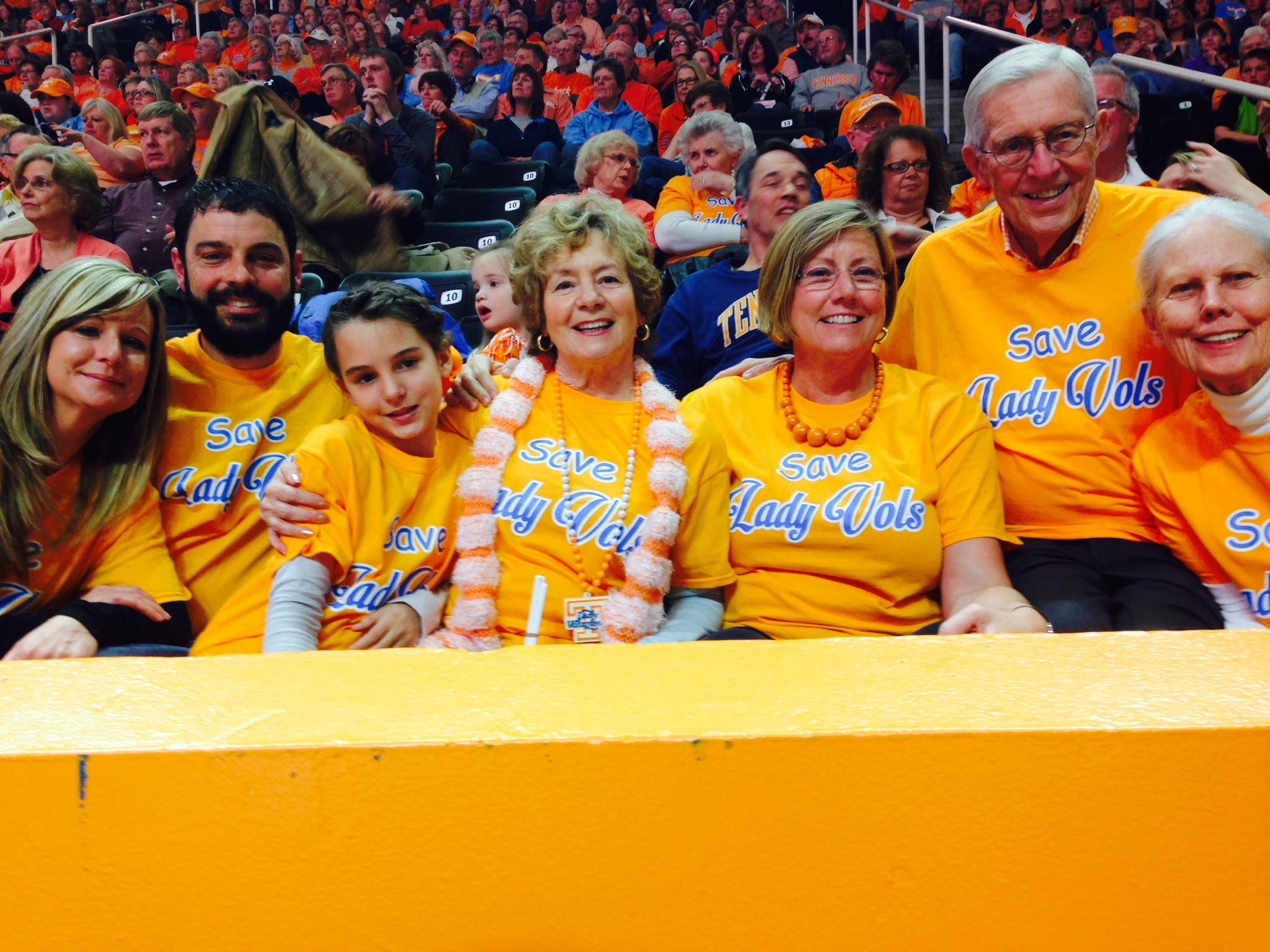 From left, Amy Robinson, small business owner and mother; Brian Robinson, landscape business owner and father; Faith Robinson, who wants to be a Lady Vol when she grows up; Dr. Sharon Lord, former UT Professor and U.S. Undersecretary of Defense; Mollie DeLozier, former UT champion swimmer and Knoxville coach; Don Sundquist, former Tennessee governor and chair of UT Board of Trustees for eight years, and Martha Sundquist, former first lady of Tennessee and Lady Vols supporter, attended the Lady Vols vs. Vanderbilt game and supported Save the Lady Vols. 2015