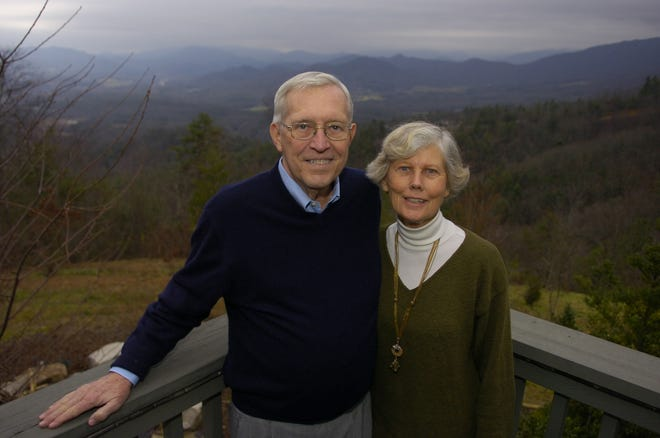 Former Tennessee Gov. Don Sundquist and his wife Martha pose for a portrait at their home in Townsend, Tennessee. Sundquist served as governor from 1995 to 2002.