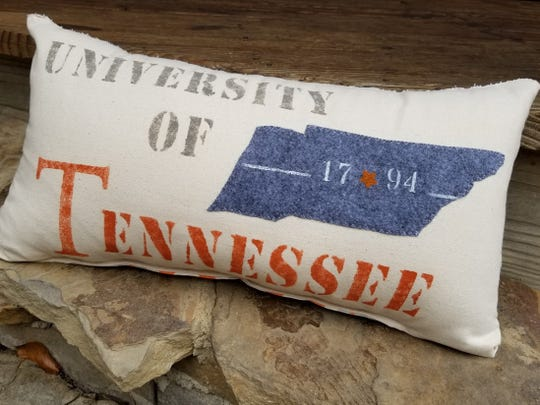 A University of Tennessee pillow is among the Tennessee-based Christmas possibilities found on Etsy.
