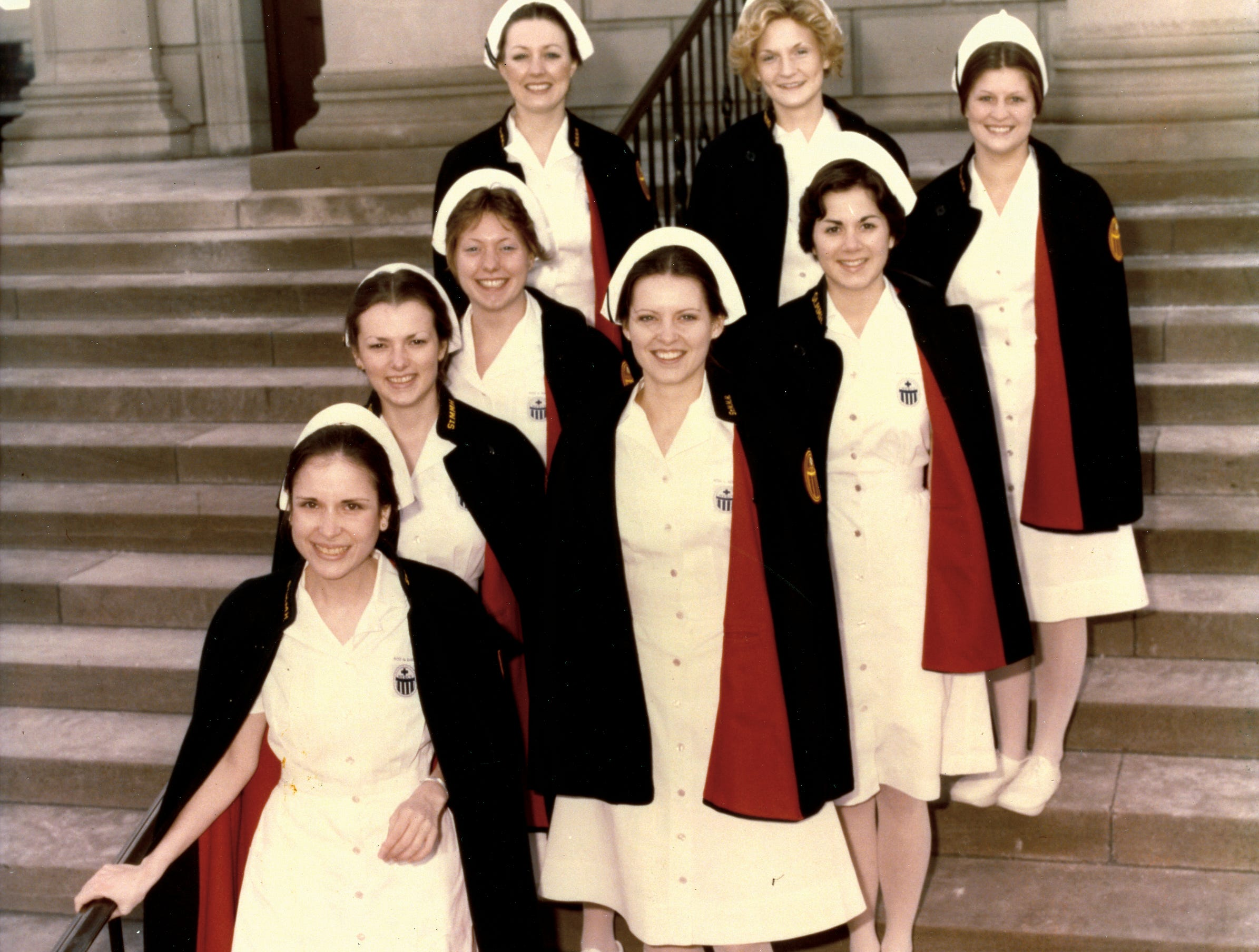 "Student nurses at St. Mary's School of Nursing. Capes were part of students' ""full uniform"" for many years."