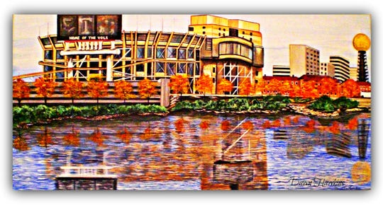 Knoxville artist Dawn Hawkins' colorful art of Neyland Stadium could be a Christmas gift for the Vol fan.