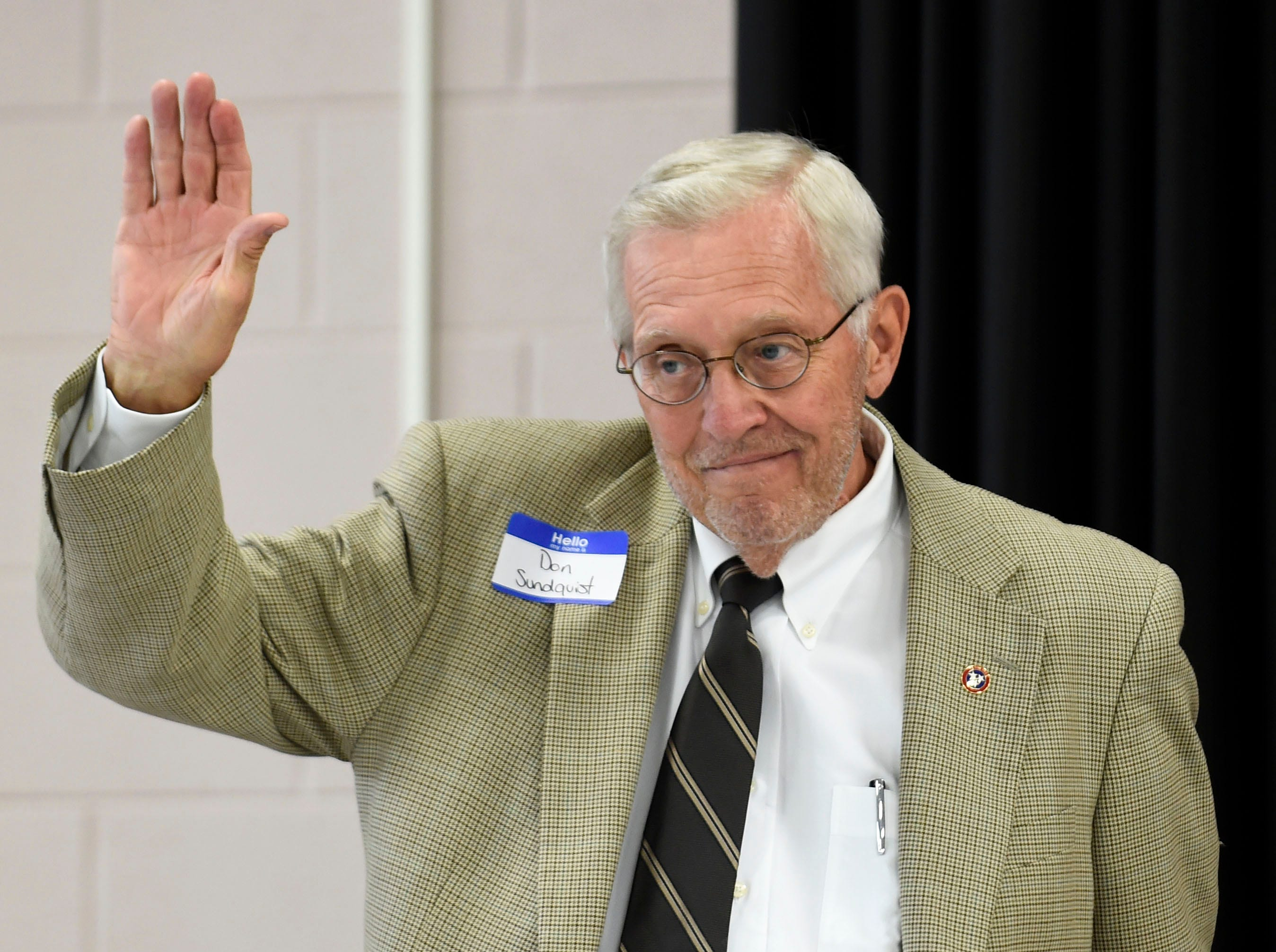Former Tennessee Gov. Don Sundquist is introduced during the Lincoln Reagan Dinner at Campbell County High School in LaFollette, Saturday, July 12, 2014.