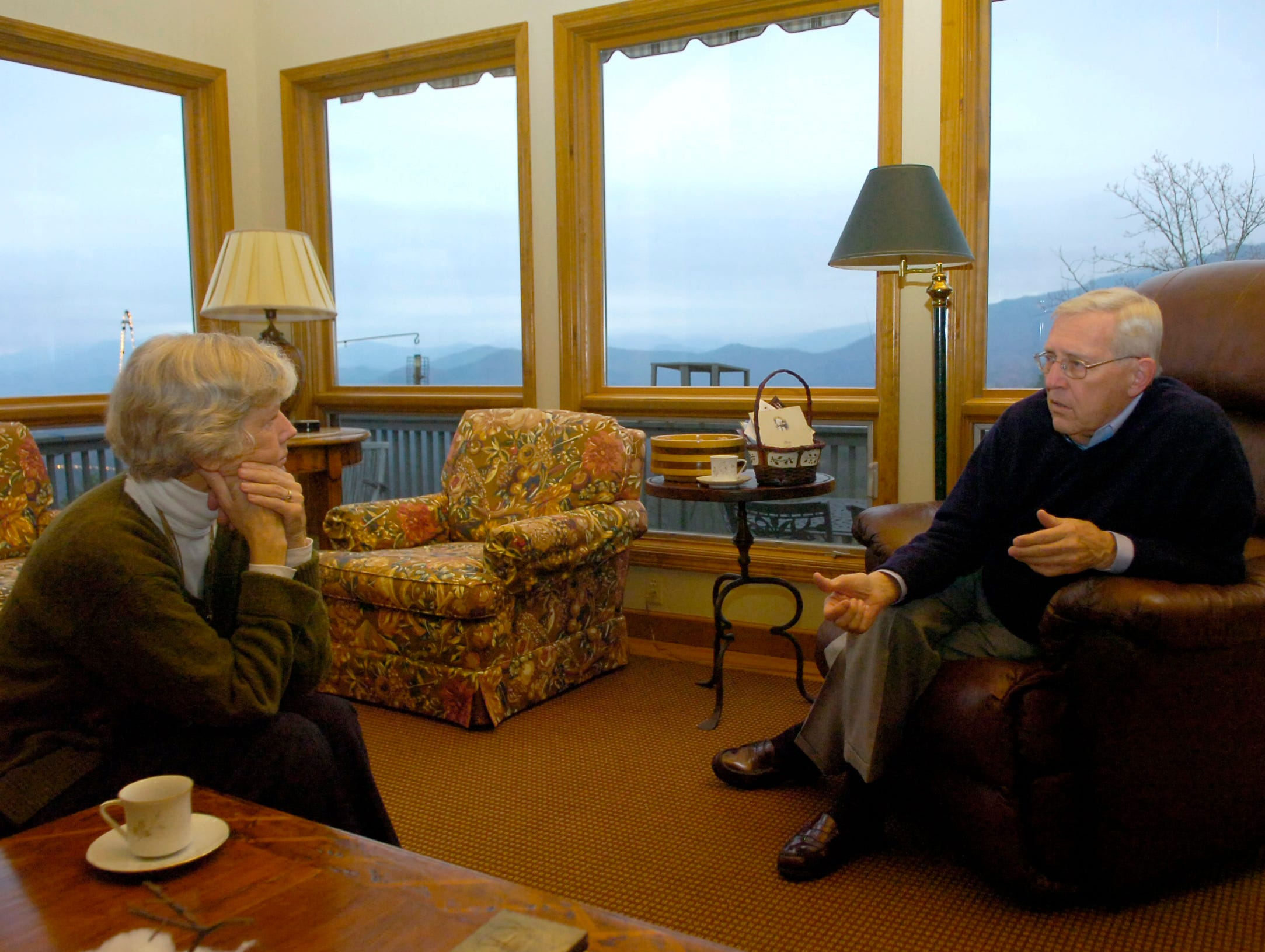 Former Tennessee Governor Don Sundquist talks with his wife Martha at their home in Laurel Valley, located in Townsend, TN. Sundquist served as governor from 1995 to 2002.