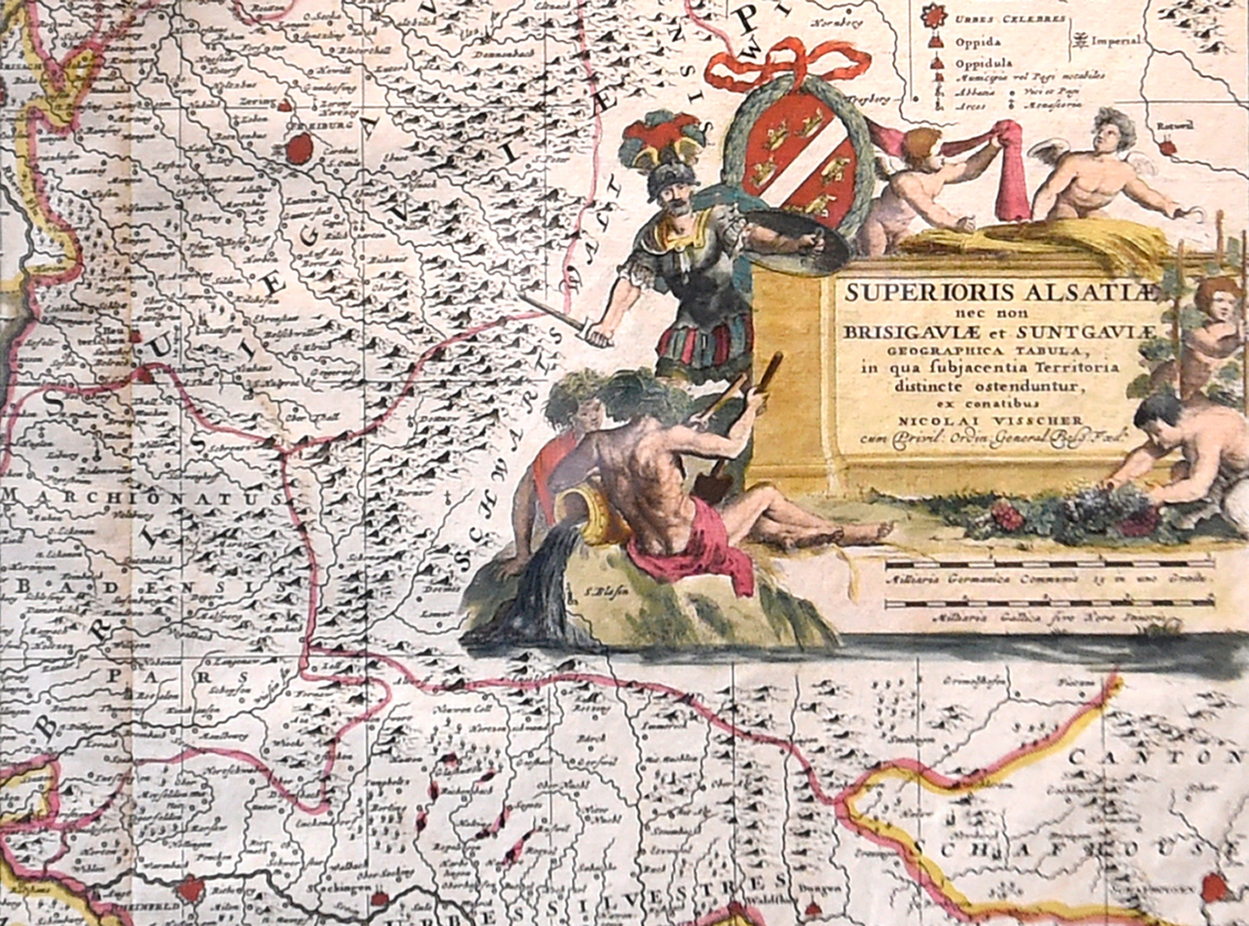Detail in a copper-engraved and hand-colored map dating from 1680, showing the upper Alsace regions and Rhine River valley in Germany and Switzerland. The antique map is seen on display in UT's Burchfiel Geography Building on Friday, Feb. 20, 2015, and part of a larger set of 200 rare maps of Europe and other parts of the world, created between the 1500s and 1800s, recently donated to UT's McClung Museum of Natural History and Culture.