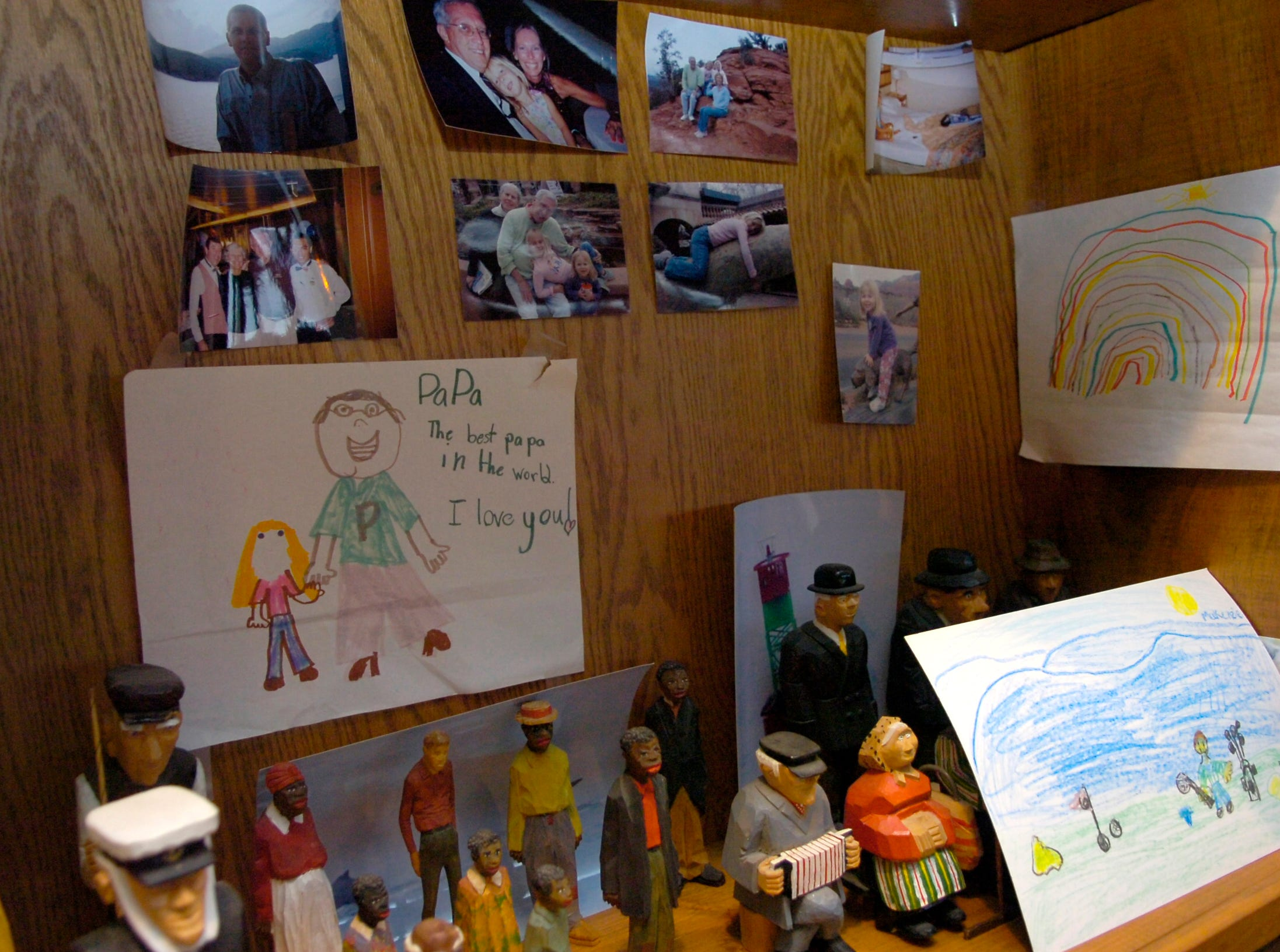 Photographs and drawings from his grandchildren hang in the office of former Tennessee Governor Don Sundquist at his home in Laurel Valley, located in Townsend, TN. Sundquist served as governor from 1995 to 2002.