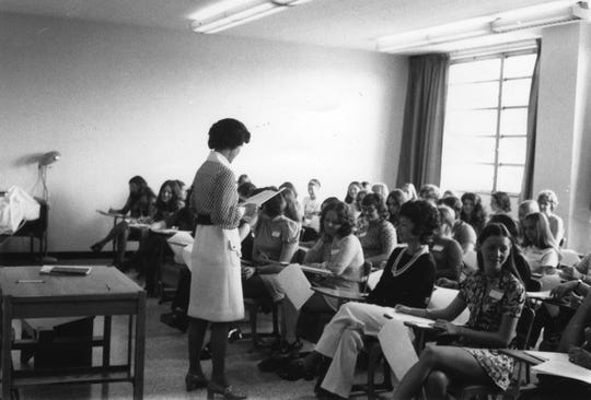 Dr. Margaret Heins with a class at St. Mary's School of Nursing, Mercy Hall.
