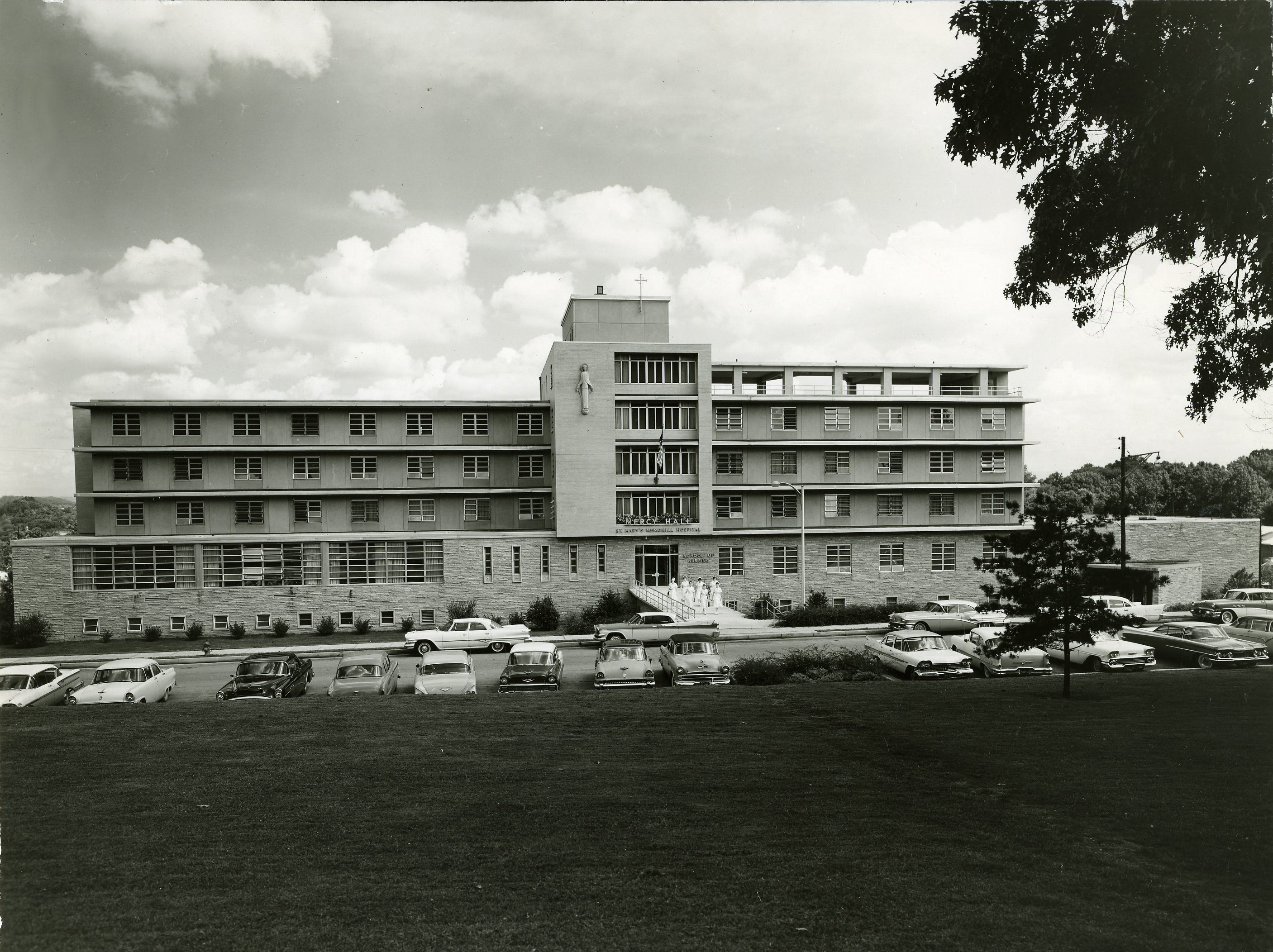 Mercy Hall was the nursing school building on the St. Mary's hospital campus, It was built in 1957, and it included dormitories for students and the sisters, offices, classrooms, a library and a chapel. It was later renamed Celeste Hall.