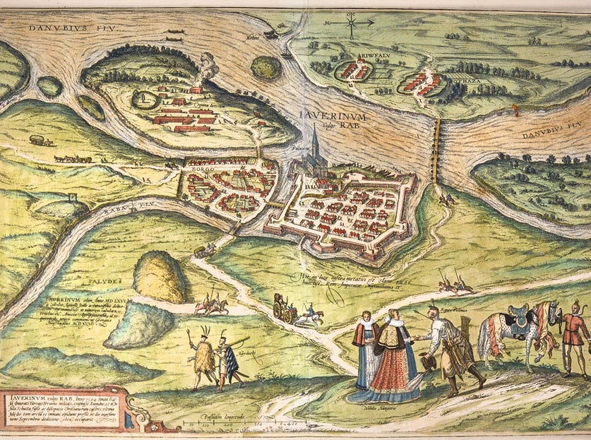 A 1598 map giving a bird's-eye view of Gyor, Hungary, was made by Georg Braun and Frans Hogenberg in Cologne. It is one of 191 maps recently donated to the University of Tennessee McClung Museum of Natural History and Culture by private donors. Most are copperplate engravings with painstakingly applied hand color.
