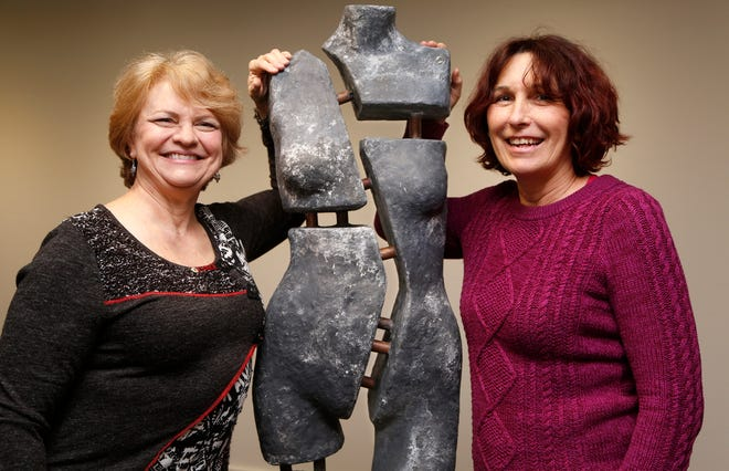 """Artists Lorie Amick, left, and LaDonna Vohar with a fine-art sculpture they created from a retail mannequin titled """"Dixie"""" Monday, December 3, 2018, at the Art Museum of Greater Lafayette. Amick and Vohar will present the exhibition """"The Un-Limited Figure: Creating an Afterlife for Retail Mannequins,"""" opening Dec. 14 at the Art Museum of Greater Lafayette."""