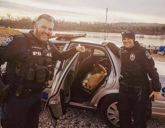 Two Louisville Metro Police officers lured a pair of goats into their car with Fritos after they were found walking along I-265.