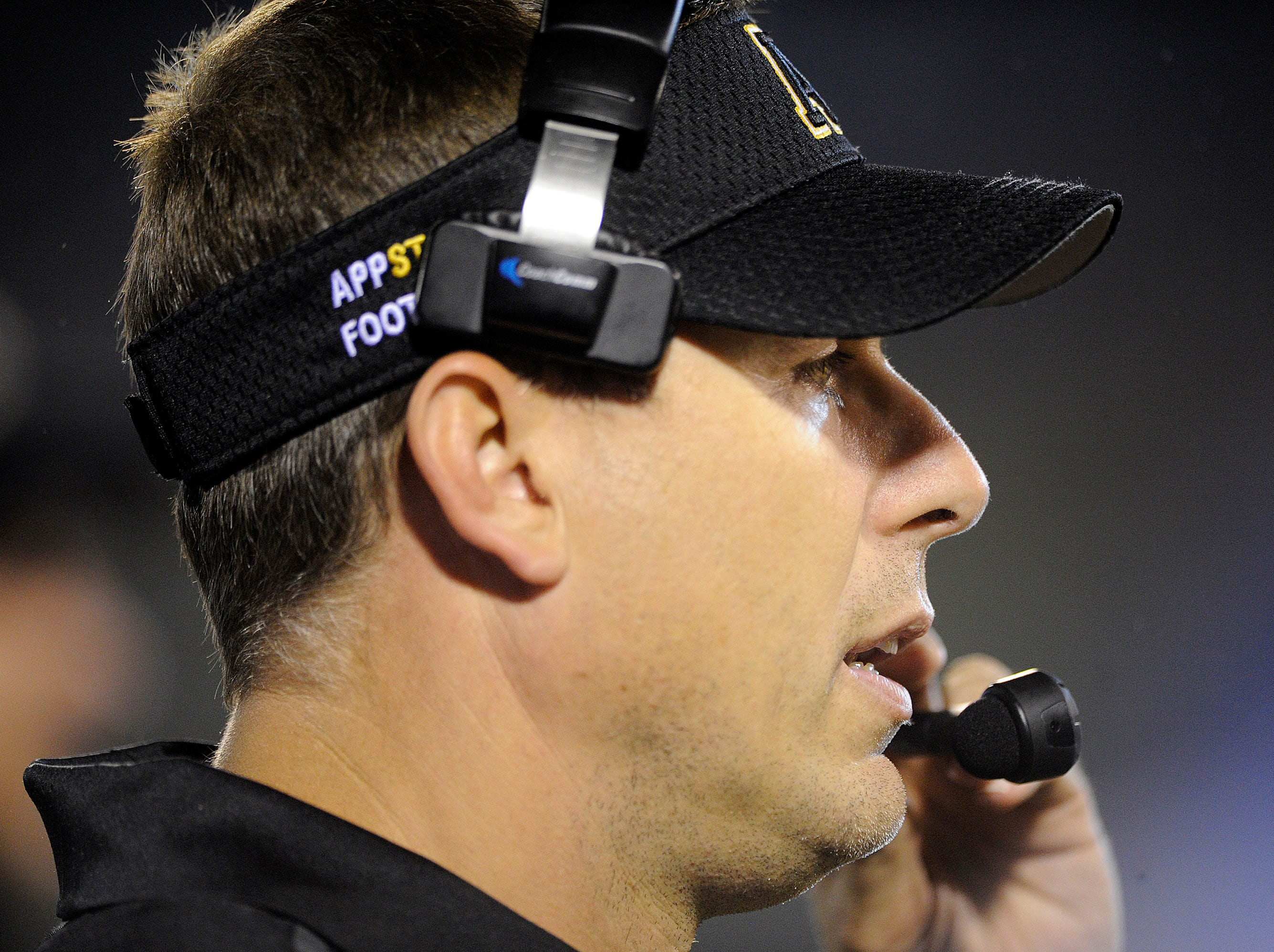 STATESBORO, GA - SEPTEMBER 25:   Head coach Scott Satterfield of the Appalachian State Mountaineers watches as his team plays the Georgia Southern Eagles during the second quarter on September 25, 2014 at Paulson Stadium in Statesboro, Georgia. The Eagles won 34-17.  (Photo by Todd Bennett/Getty Images)