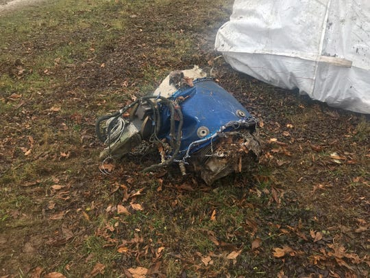 Wreckage from a fatal plane crash on Nov. 30, 2018, is seen at the site just outside Memphis, Indiana.