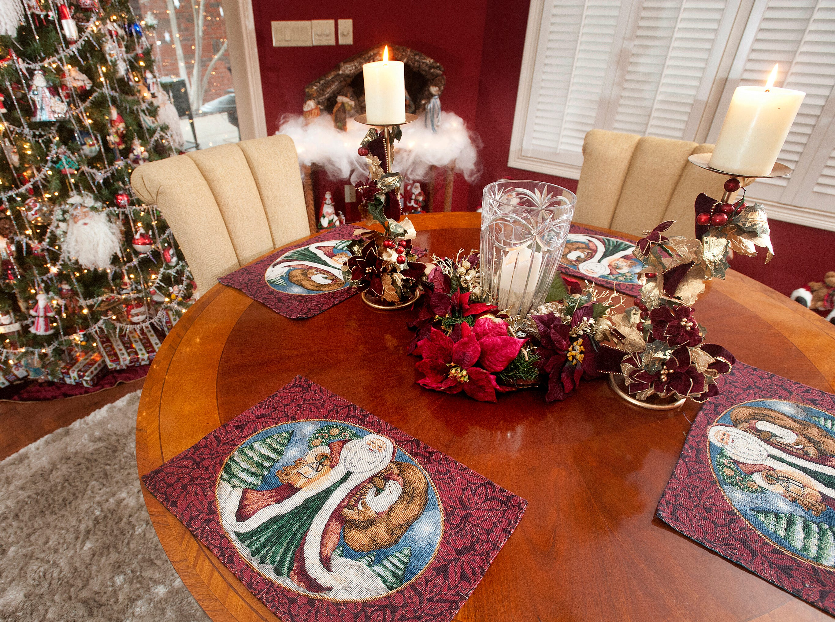 Santa placemats are part of the dining room decor.