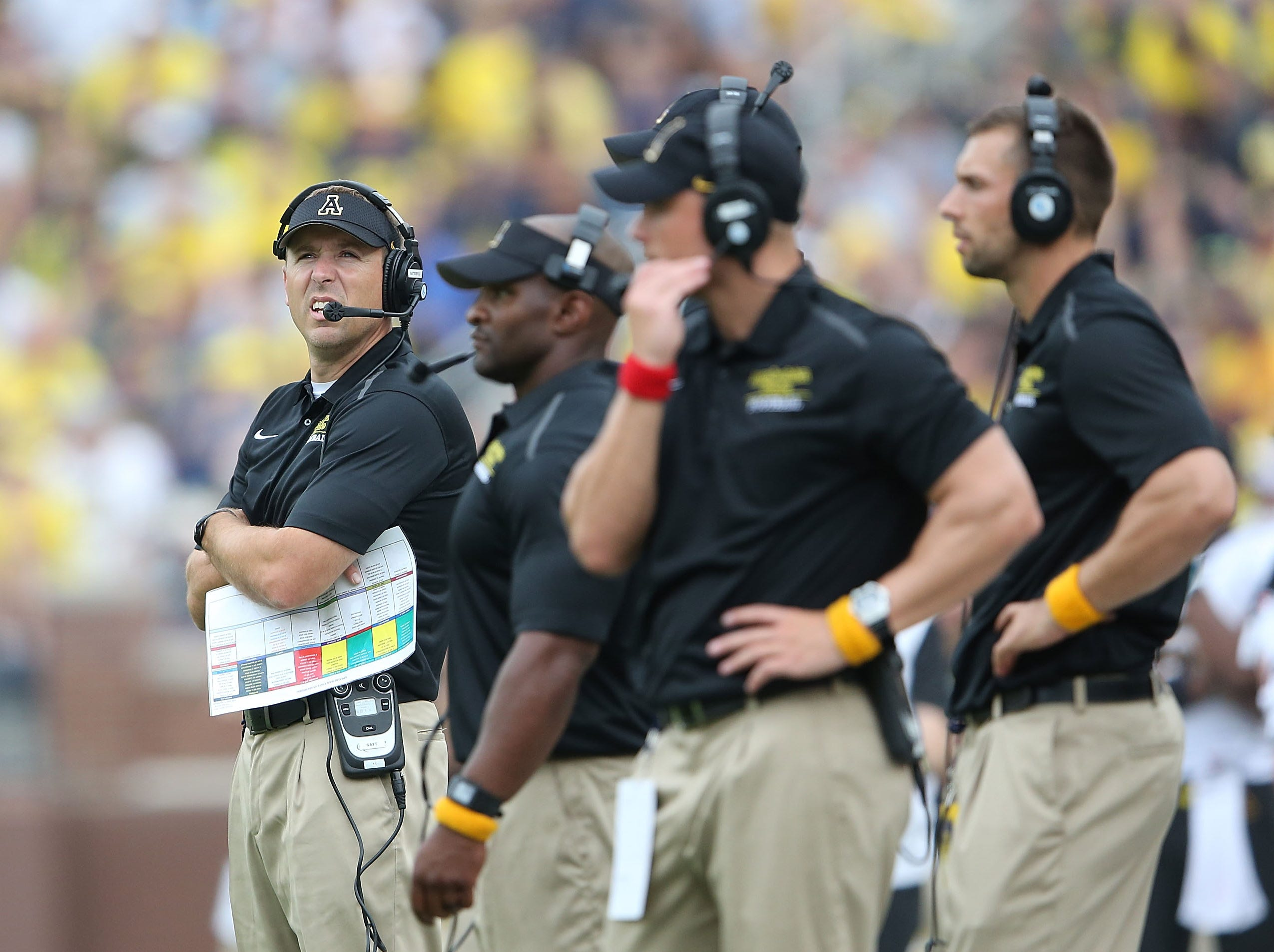 ANN ARBOR, MI - AUGUST 30:  The Appalachian State Mountaineers head football coach Scott Satterfield watches the action during the second half of the game against the Michigan Wolverines on August 30, 2014 in Ann Arbor, Michigan. The Wolverines defeated the Mountaineers 52-14.  (Photo by Leon Halip/Getty Images)