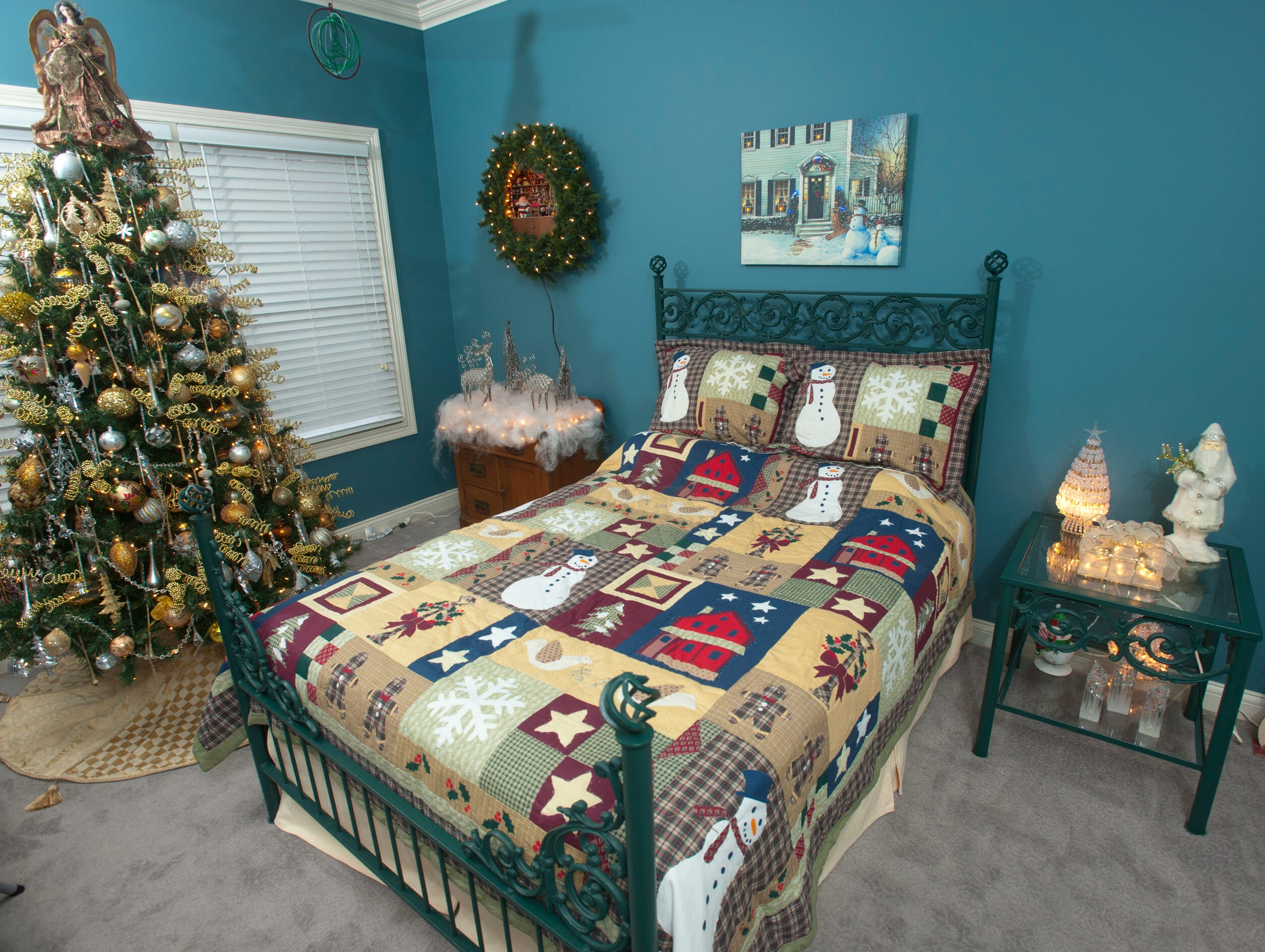 The McMurry family guest room, decorated for Christmas.
