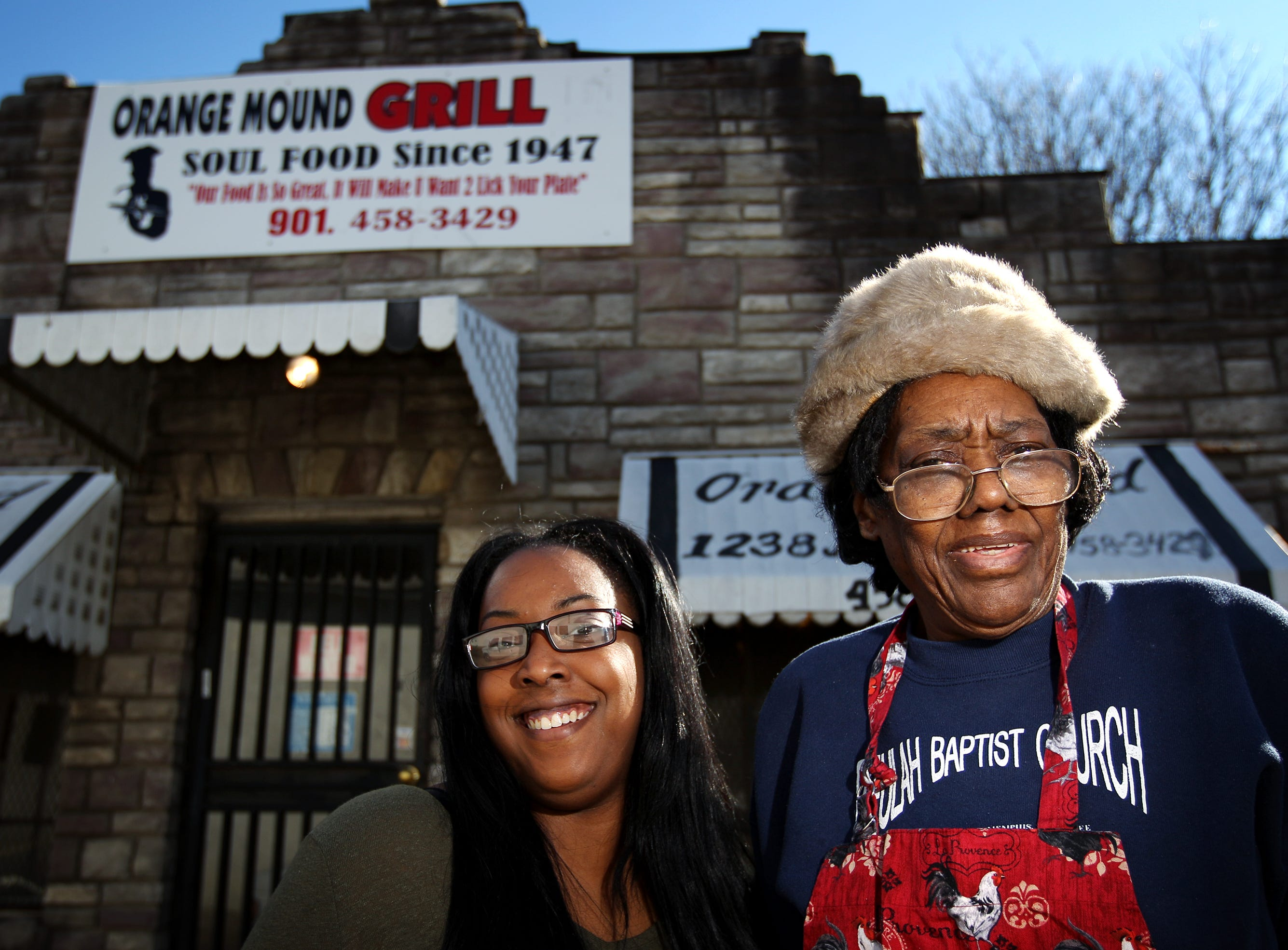 February 4, 2016 - Daisy Miller, 77, (right) stands outside her Orange Mound Grill with her granddaughter Hope Miller-Beck, 26. Miller has been working at the restaurant for 57 year and plans pass the torch to Miller-Beck when she eventually retires, which she plans to do in two years. (Mike Brown/The Commercial Appeal)