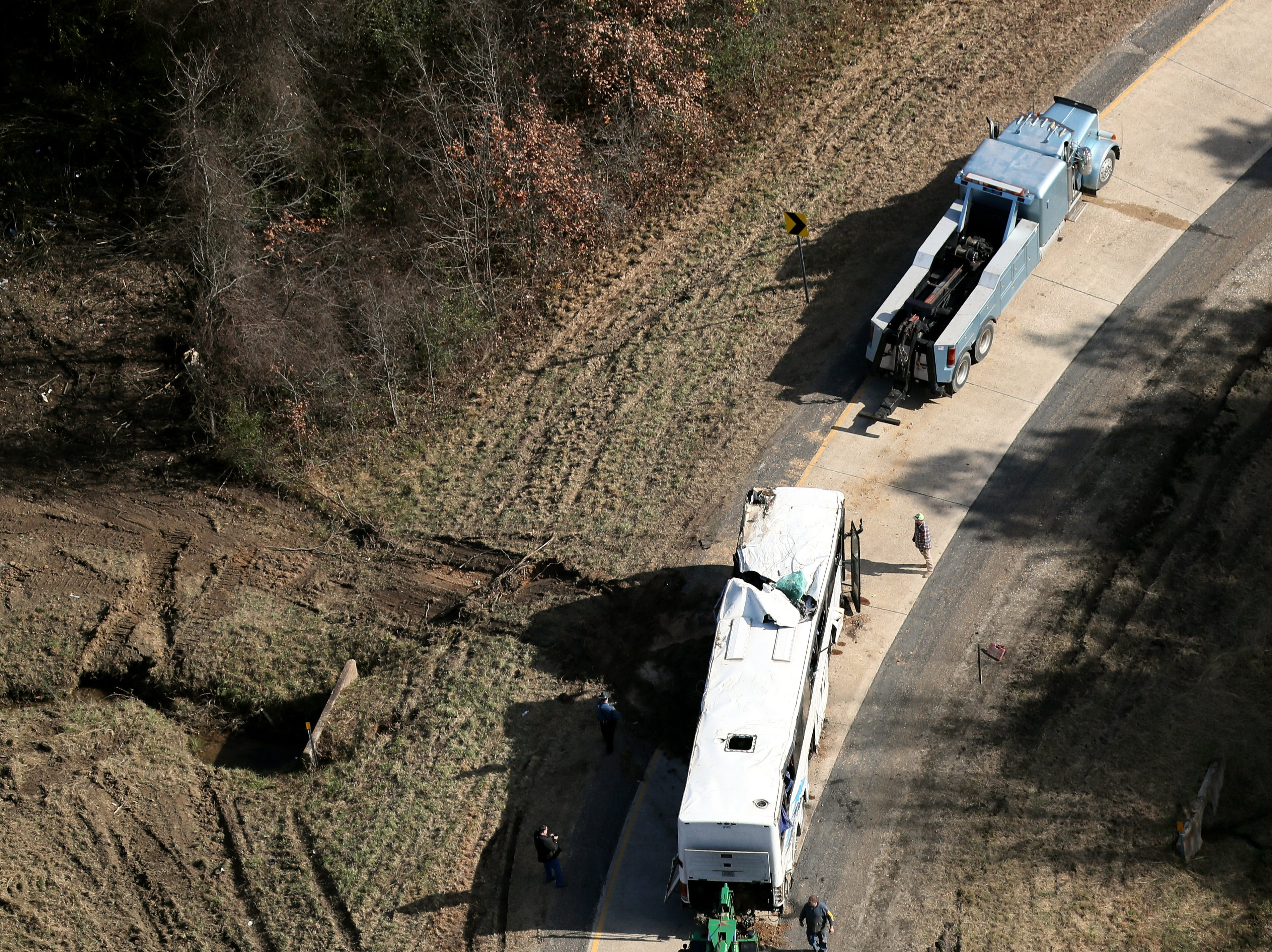 Aerial images of the scene of the bus crash in Arkansas where one boy from Orange Mound died on Monday, Dec. 2018.