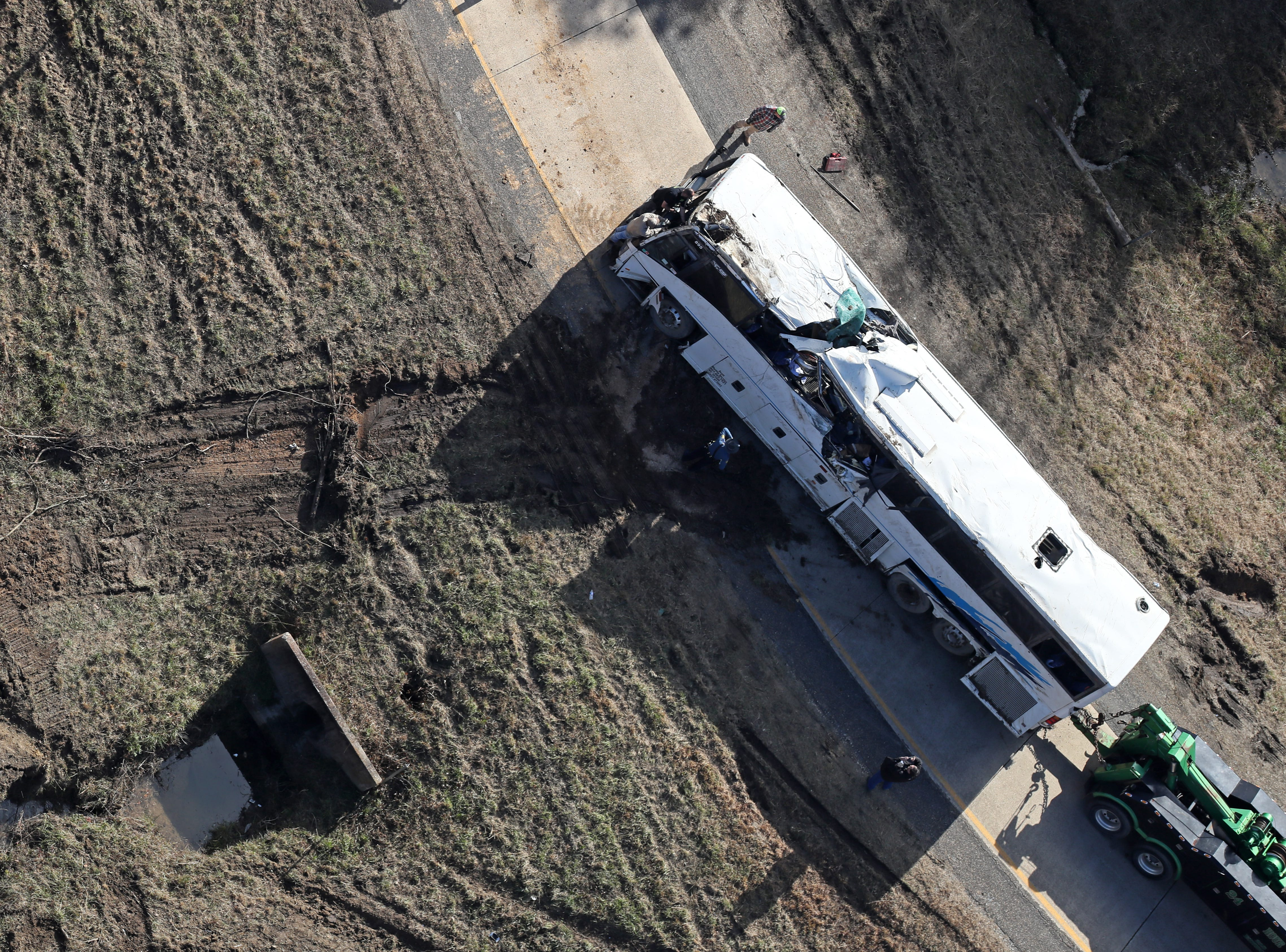 Aerial images of the scene of the bus accident outside Benton, Arkansas, that killed one boy from Orange Mound and injured 45 more.