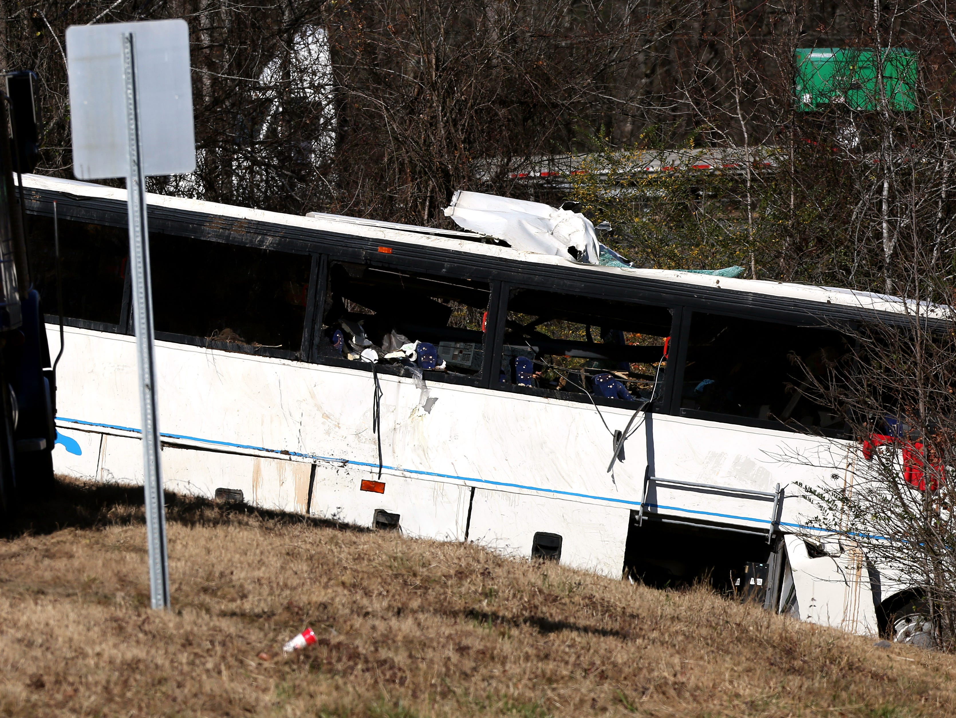 Scene of the Arkansas bus crash near Benton that killed one member of the Orange Mound football teams returning from a tournament in Dallas on Monday, Dec. 3, 2018