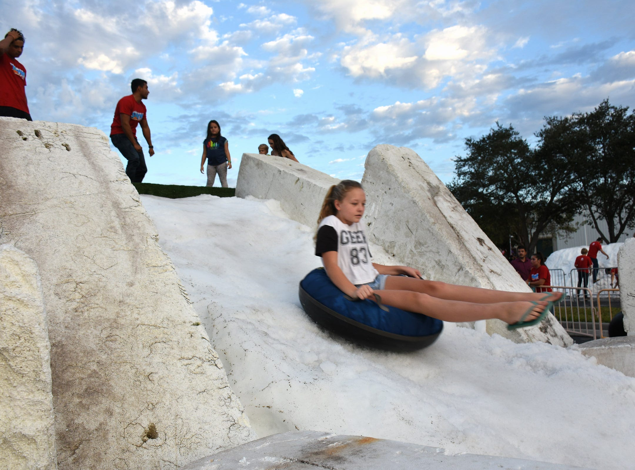 Crowds pack Golden Gate Community Venter for a 'snow ball'