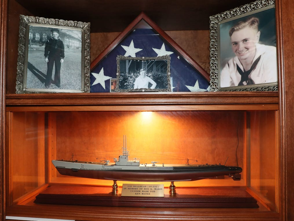 This is the shrine Ken Mater keeps in the memory of his uncle, Roy Kenneth Marin. It includes a model of the USS Bullhead submarine Mater had specially made, photos, a folded American flag and Marin's Purple Heart. Marin died when when the sub sank on the day the atomic bomb was dropped on Hiroshima.